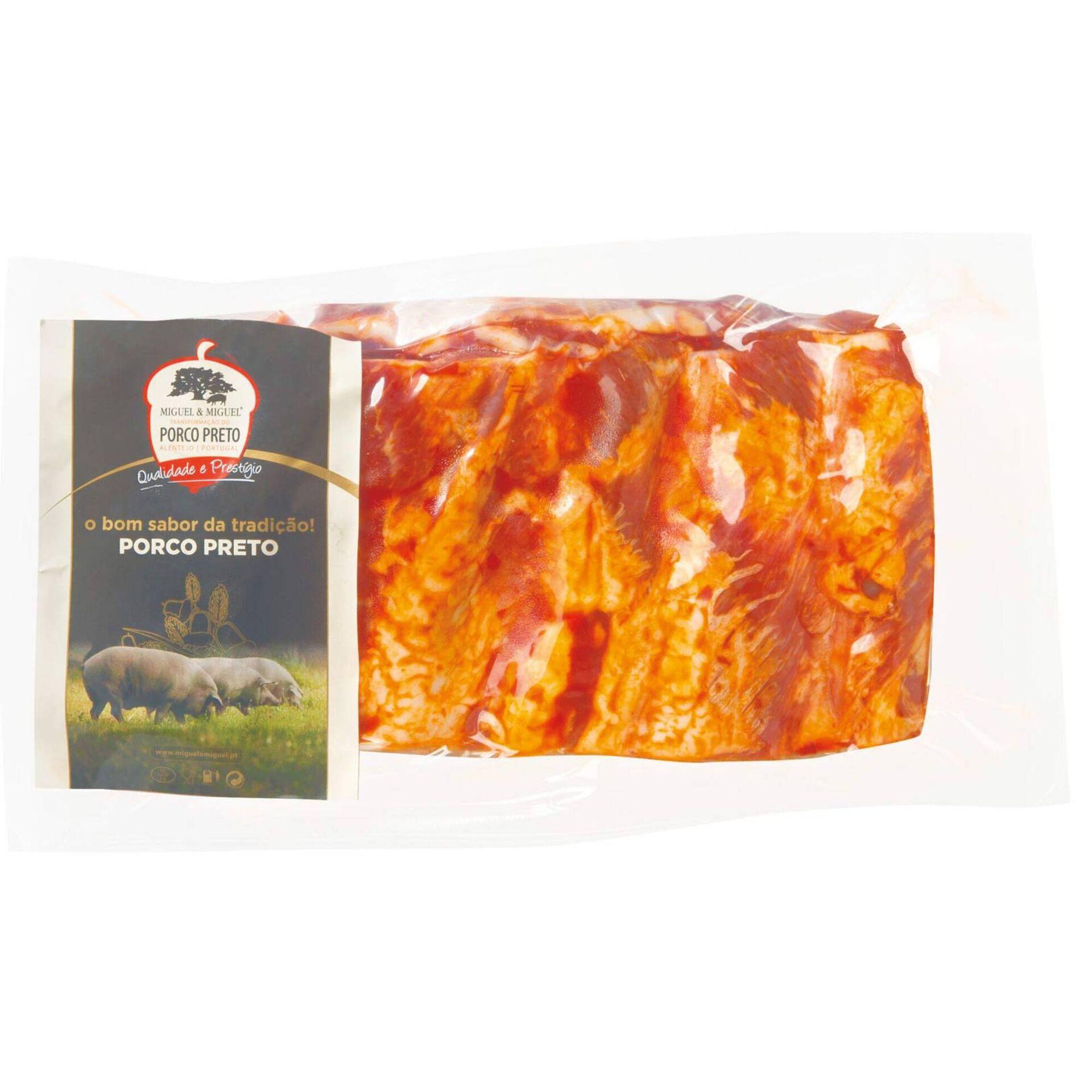 Tiras de Entrecosto Porco Preto Temperado com Pimenta