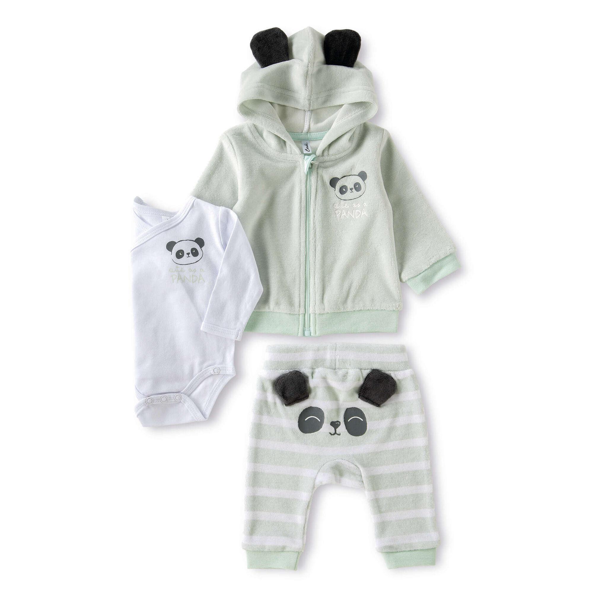Conjunto Body, Calças e Casaco com Capuz Panda 3-6 Meses Verde