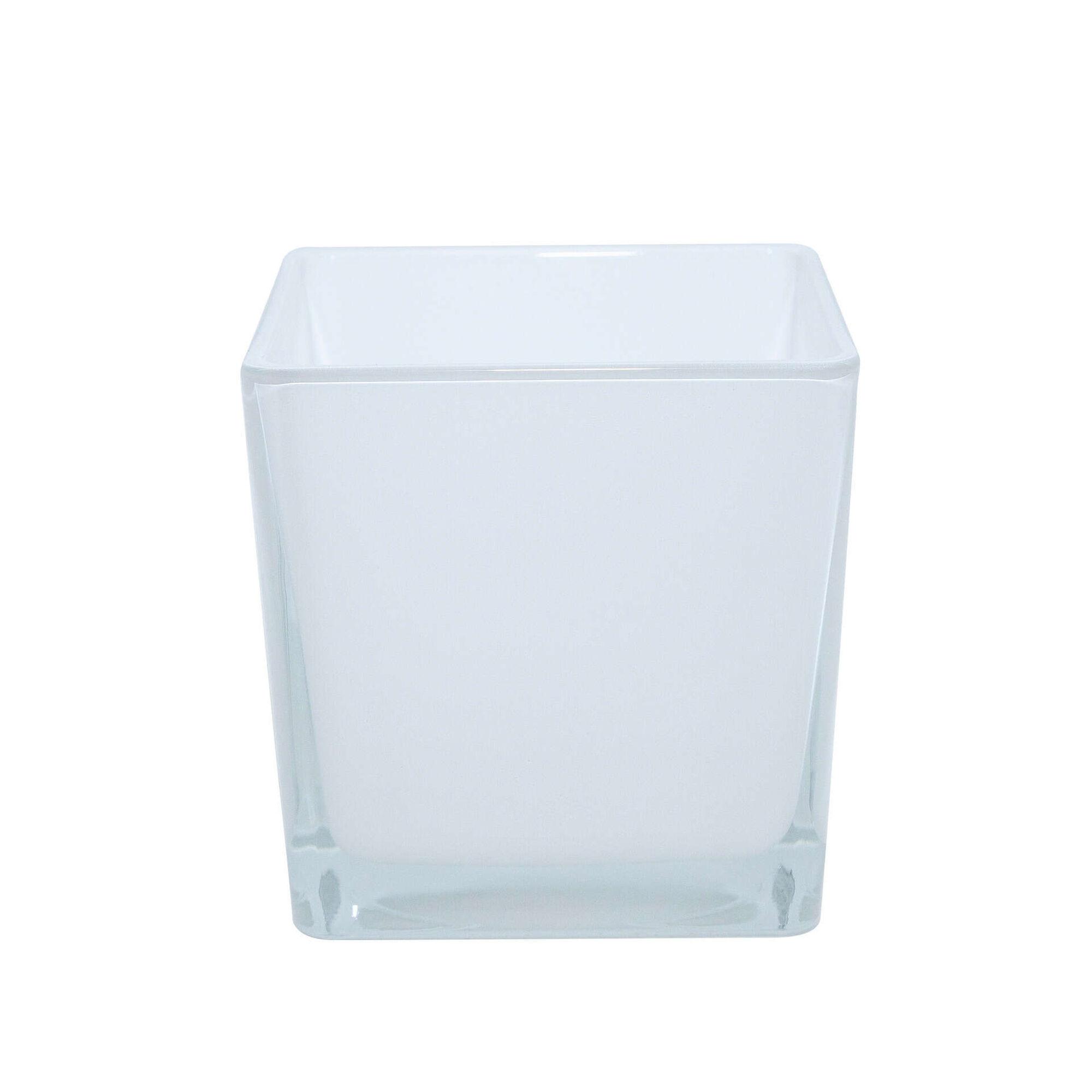 Vaso Quadrado Vidro 26cm Branco