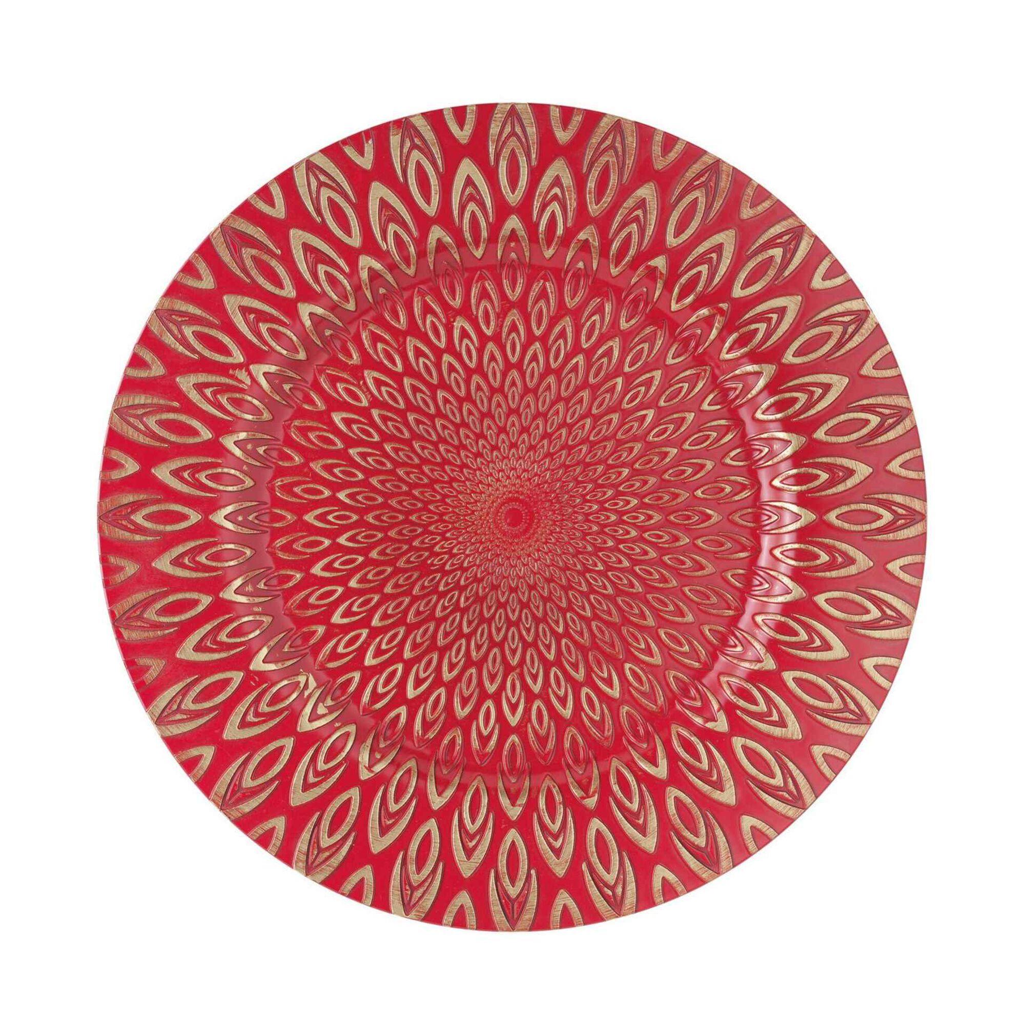 Prato Marcador 33cm Vermelho e Dourado Pavão