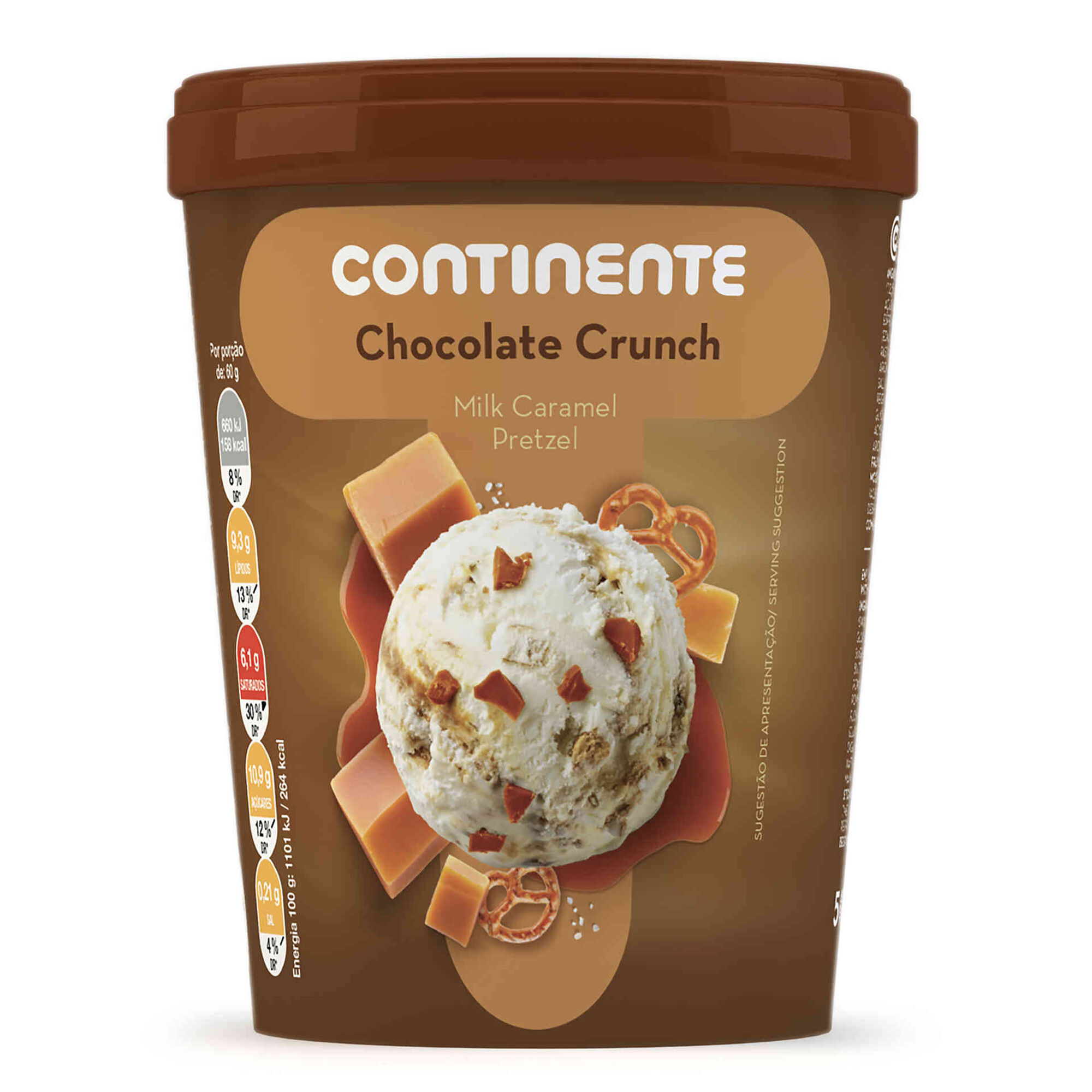 Gelado Chocolate Crunch Milk Caramel Pretzel