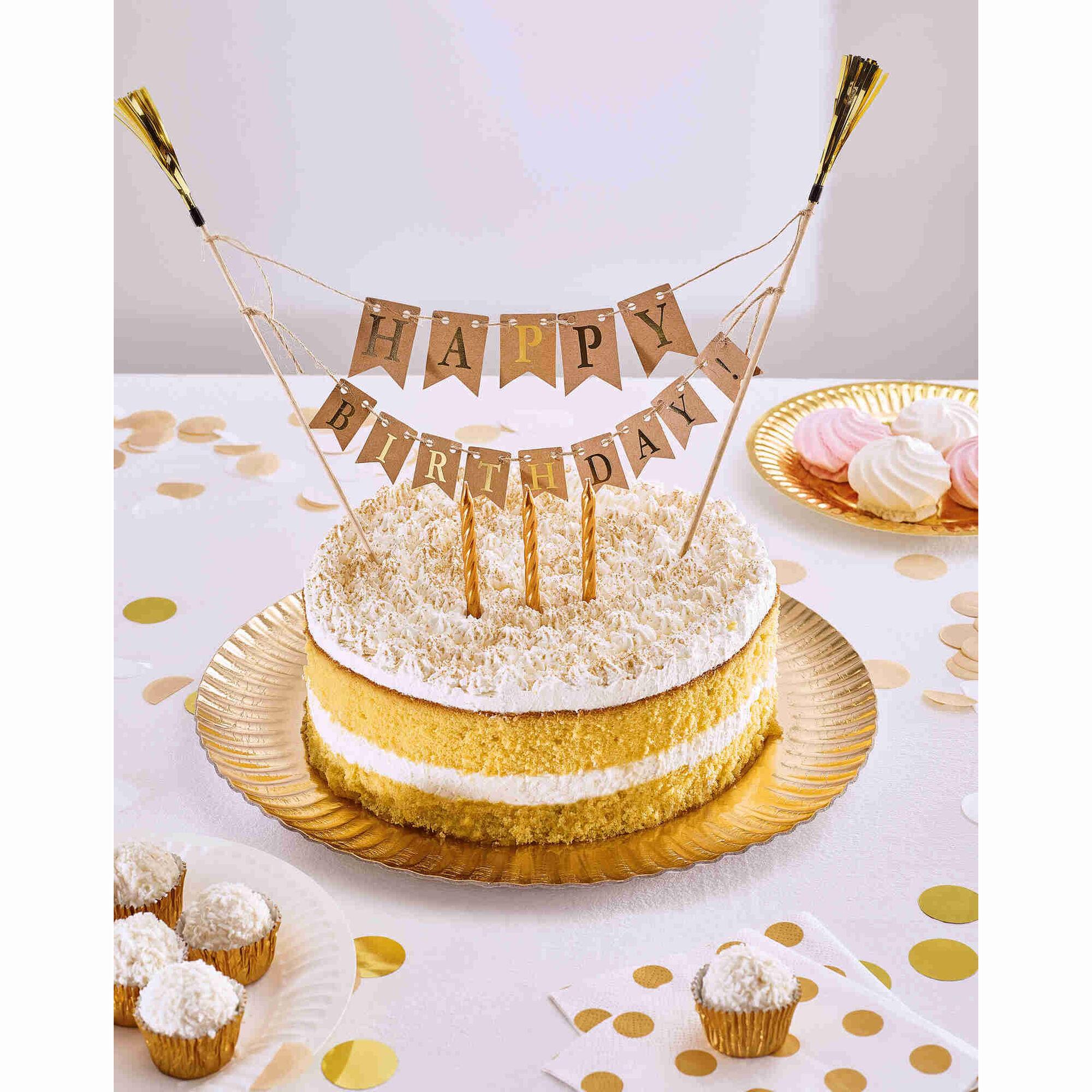 Topo de Bolo Happy Birthday Dourado
