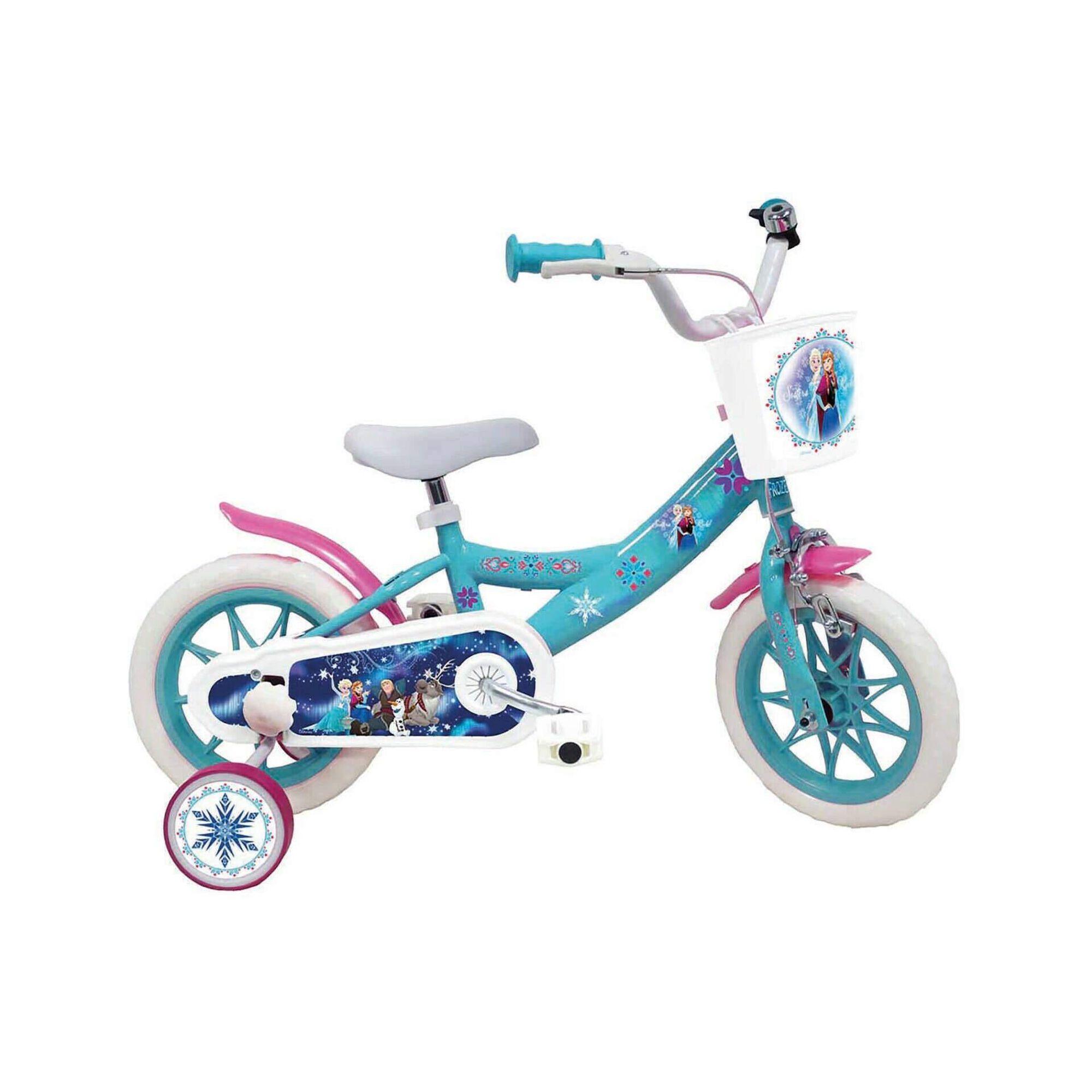 """Bicicleta Criança Roda 12"""" 3-5 Anos Azul e Branca"""
