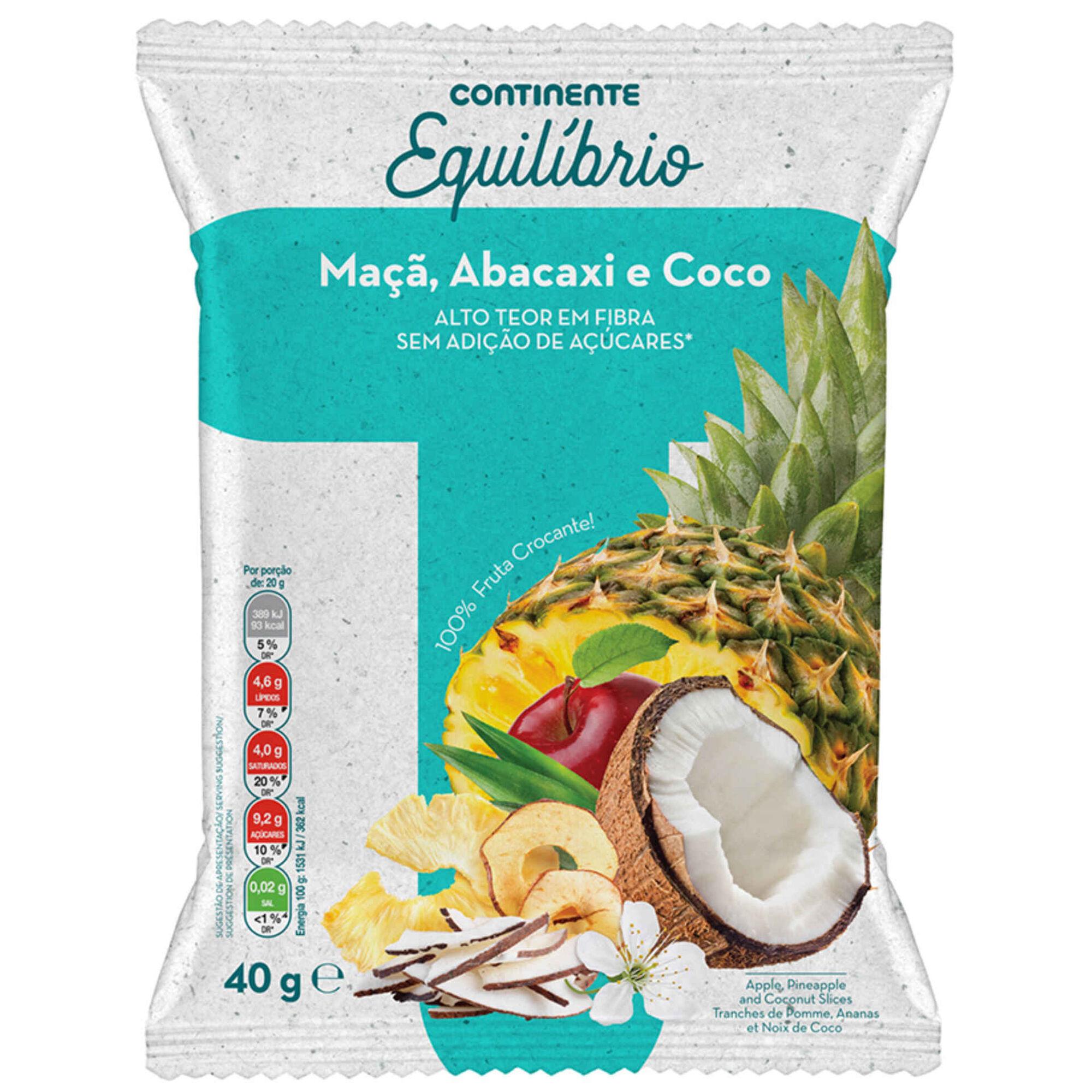 Snack de Maçã, Abacaxi e Coco