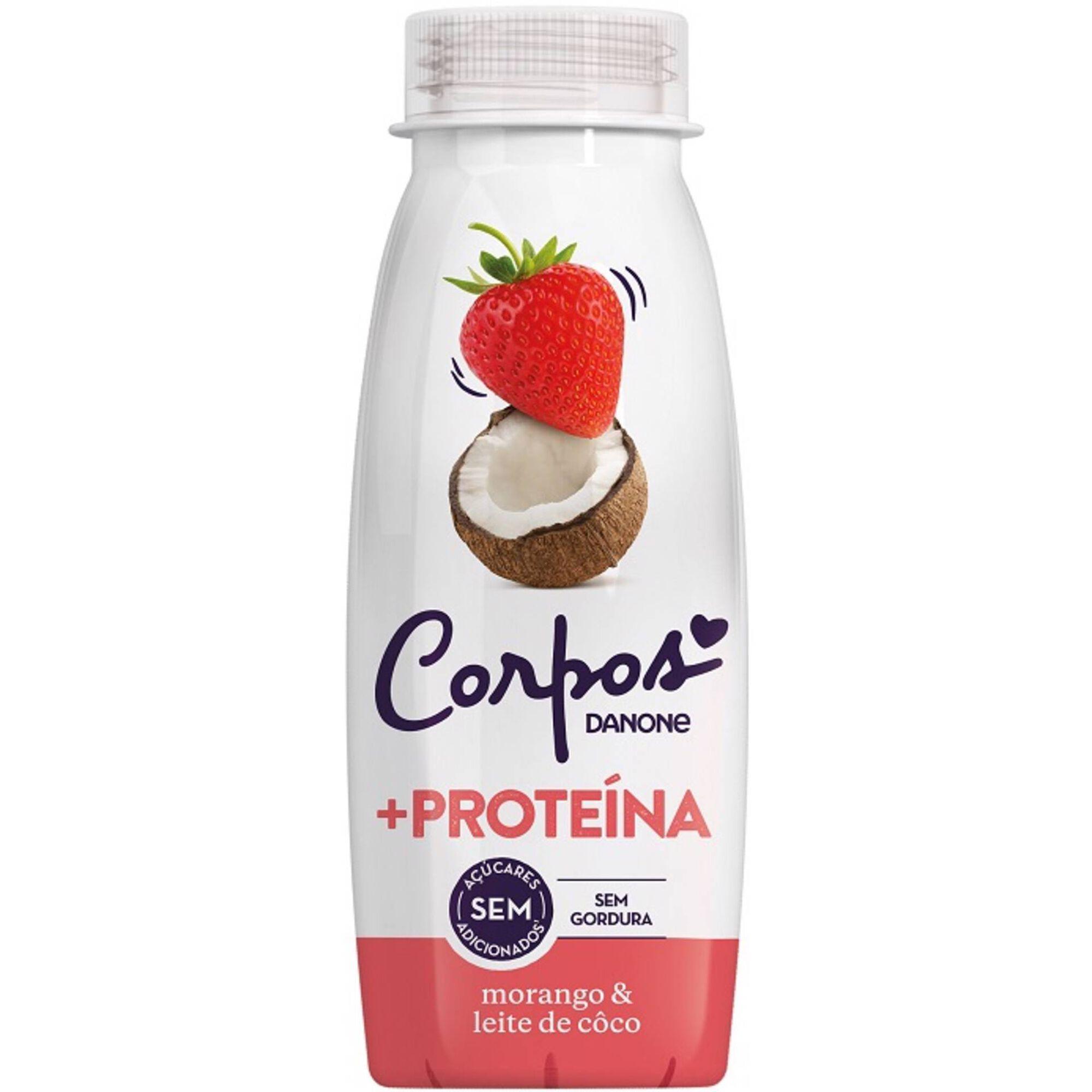 Iogurte Líquido +Proteína Morango e Leite de Coco