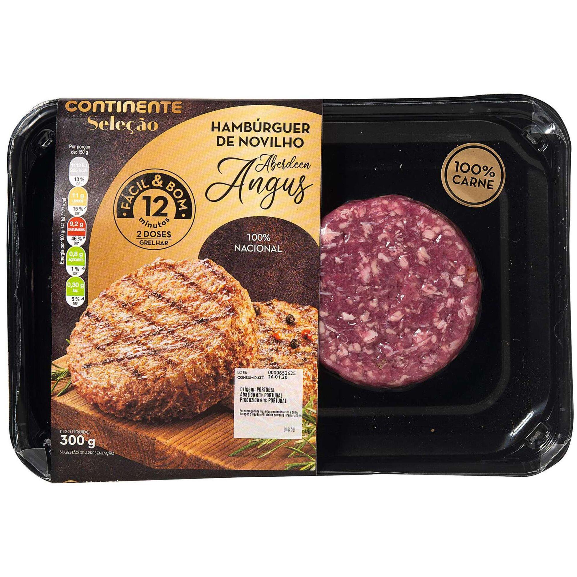 Hambúrguer 100% Carne de Novilho Angus