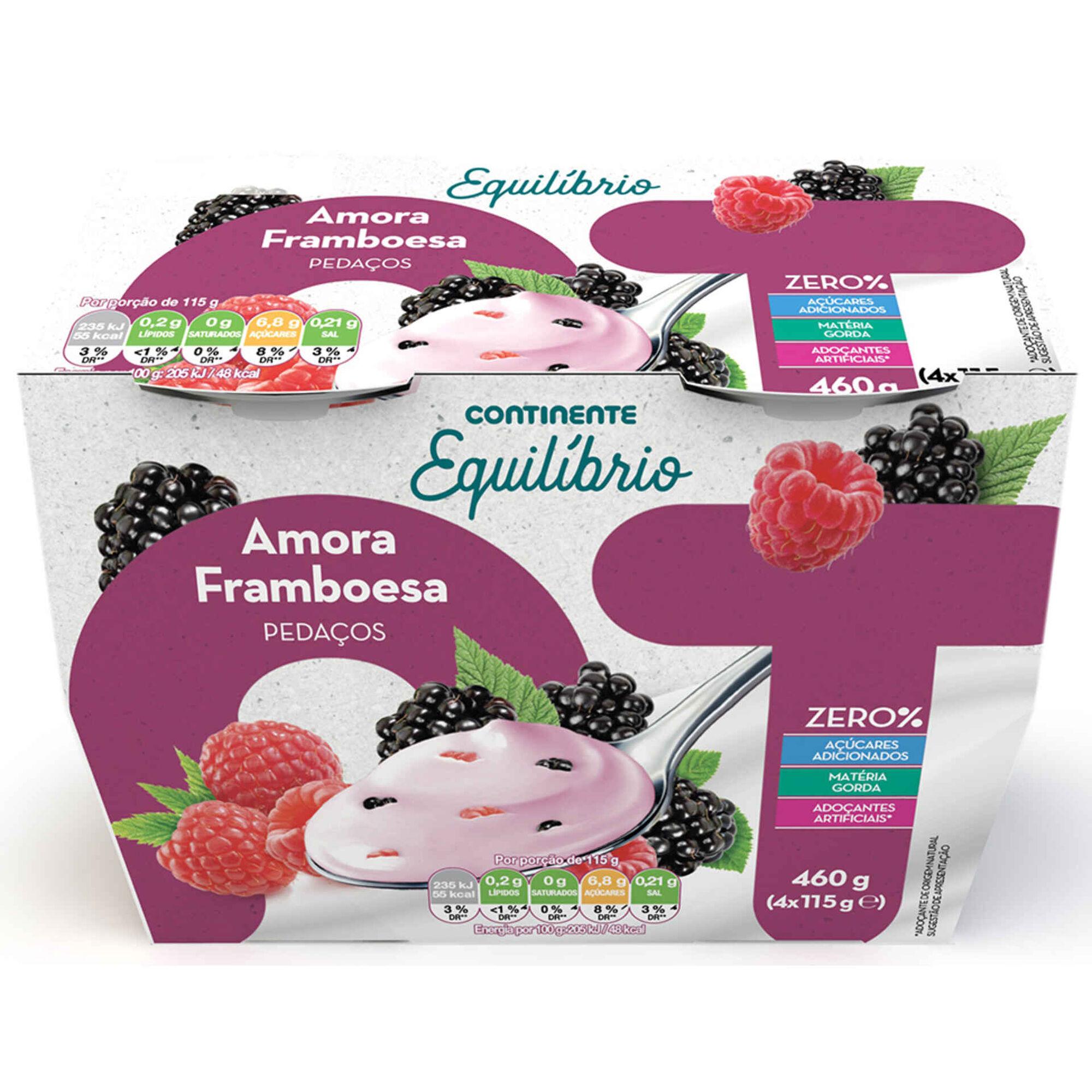 Iogurte Pedaços Zero% Amora e Framboesa
