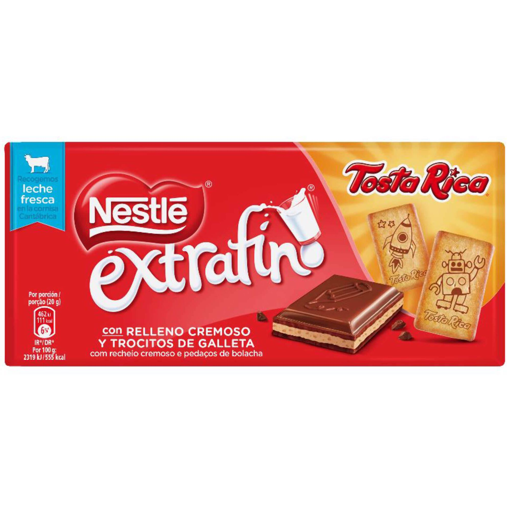 Tablete de Chocolate de Leite com Bolacha Tosta Rica Extrafino