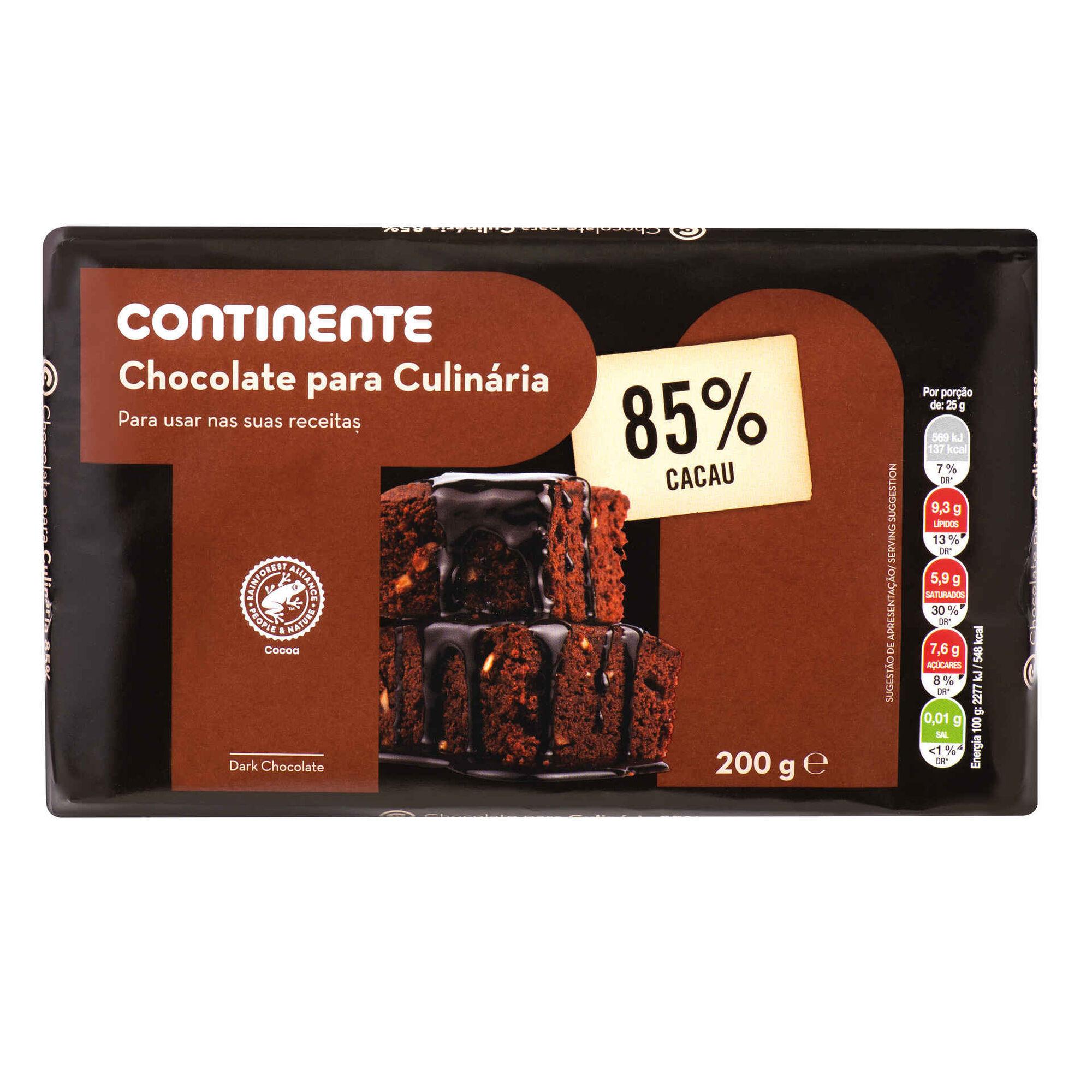 Tablete de Chocolate Culinária 85%