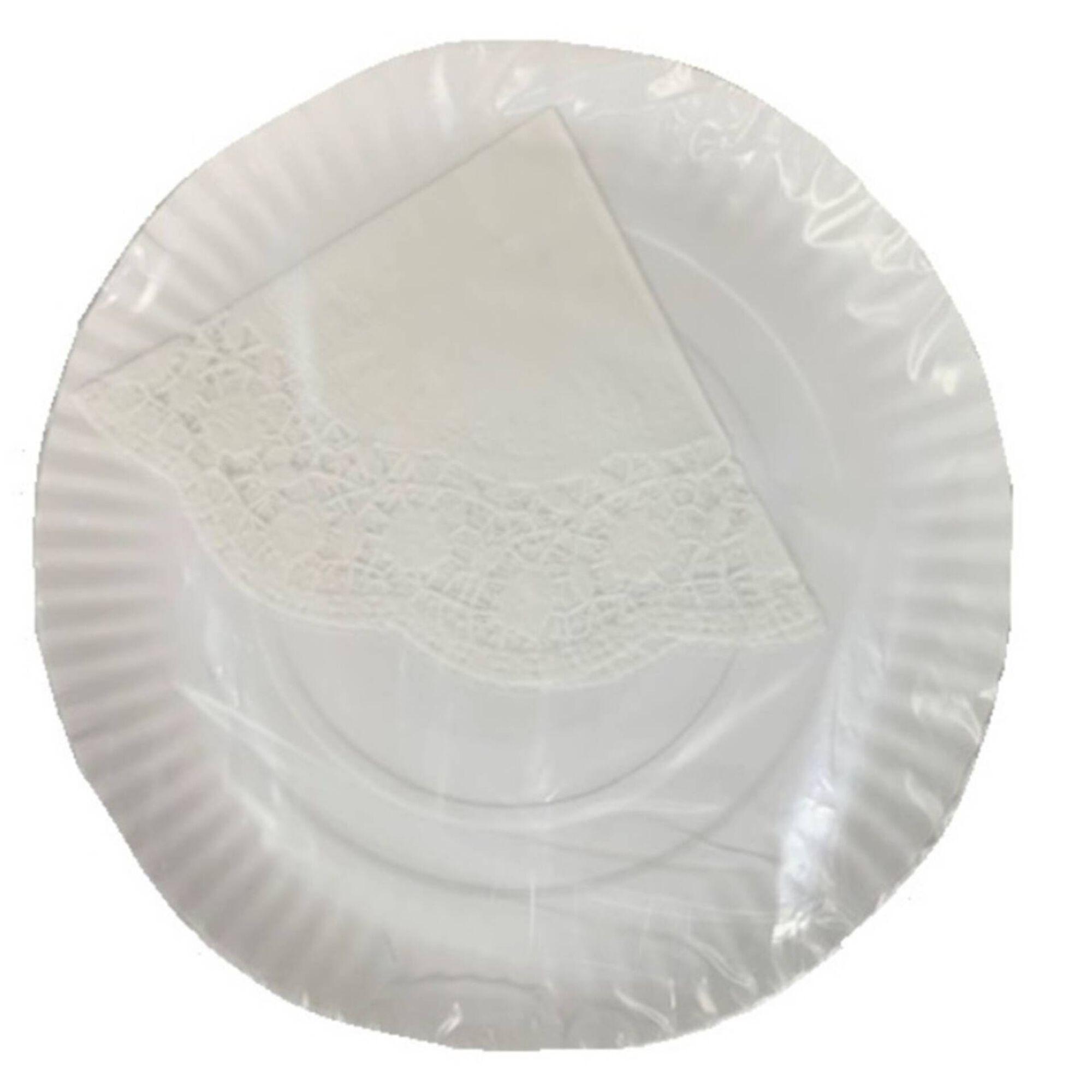 Pratos Bolos 28cm com Naperon Brancos
