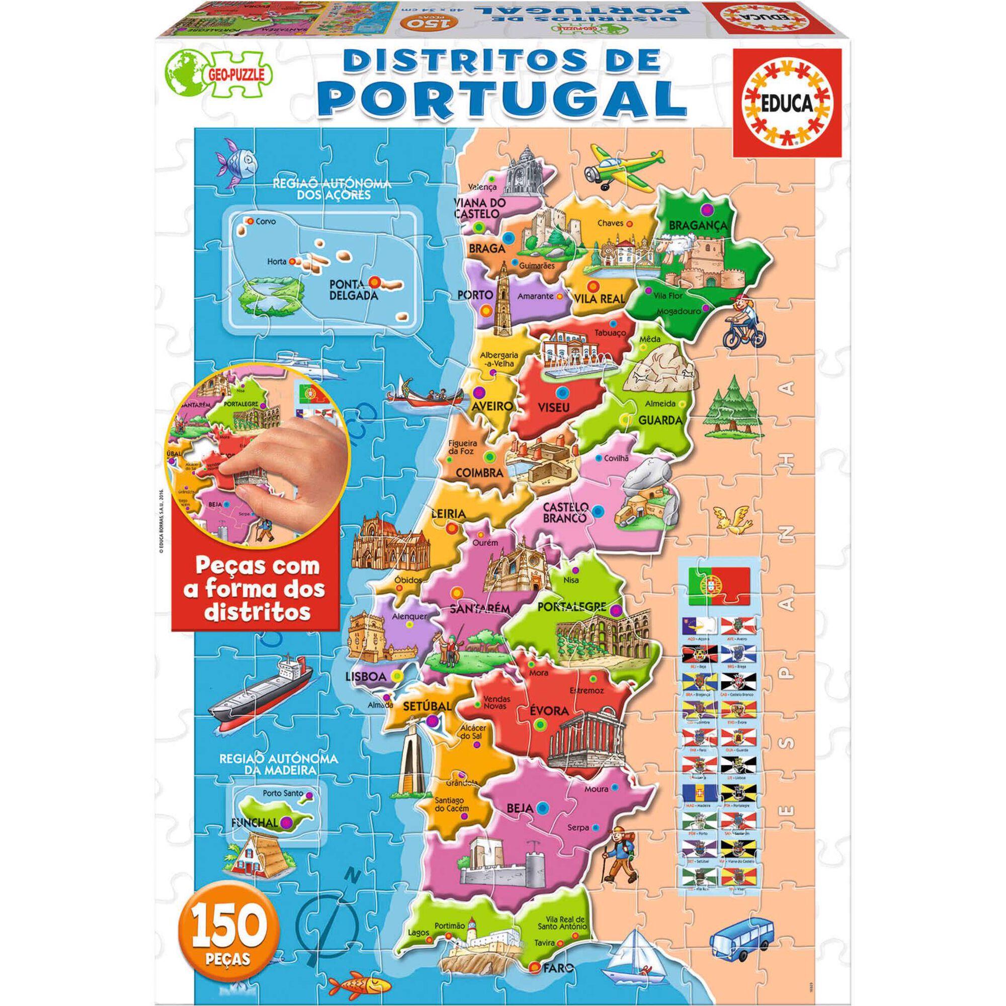 Puzzle Mapa Distritos Portugal 150 Peças