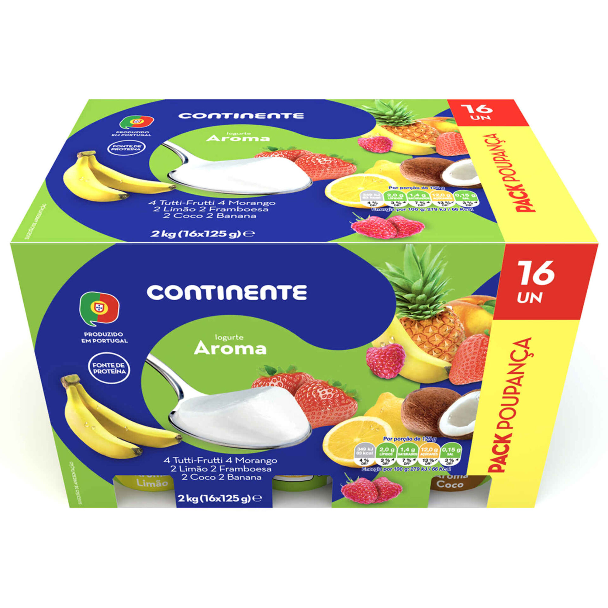 Iogurte Aroma Tutti Frutti, Morango, Limão, Framboesa, Coco e Banana Pack Poupança