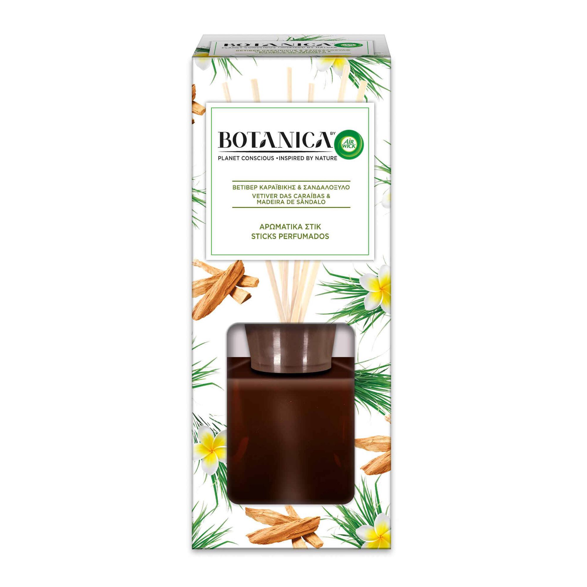 Ambientador Stick Perfumado Botânica Vetiver Caraíbas e Madeira Sândalo