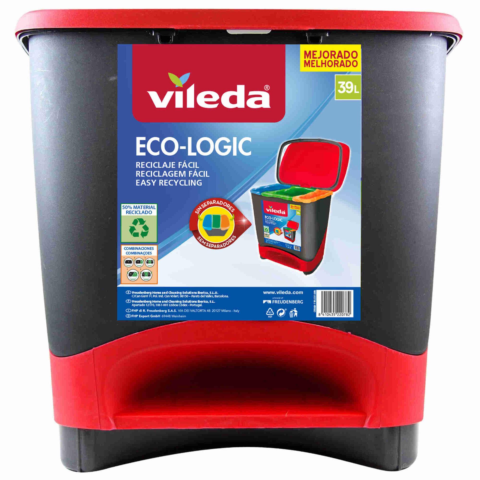 Balde Reciclagem com Pedal Plástico 39L Vermelho e Preto Eco-Logic