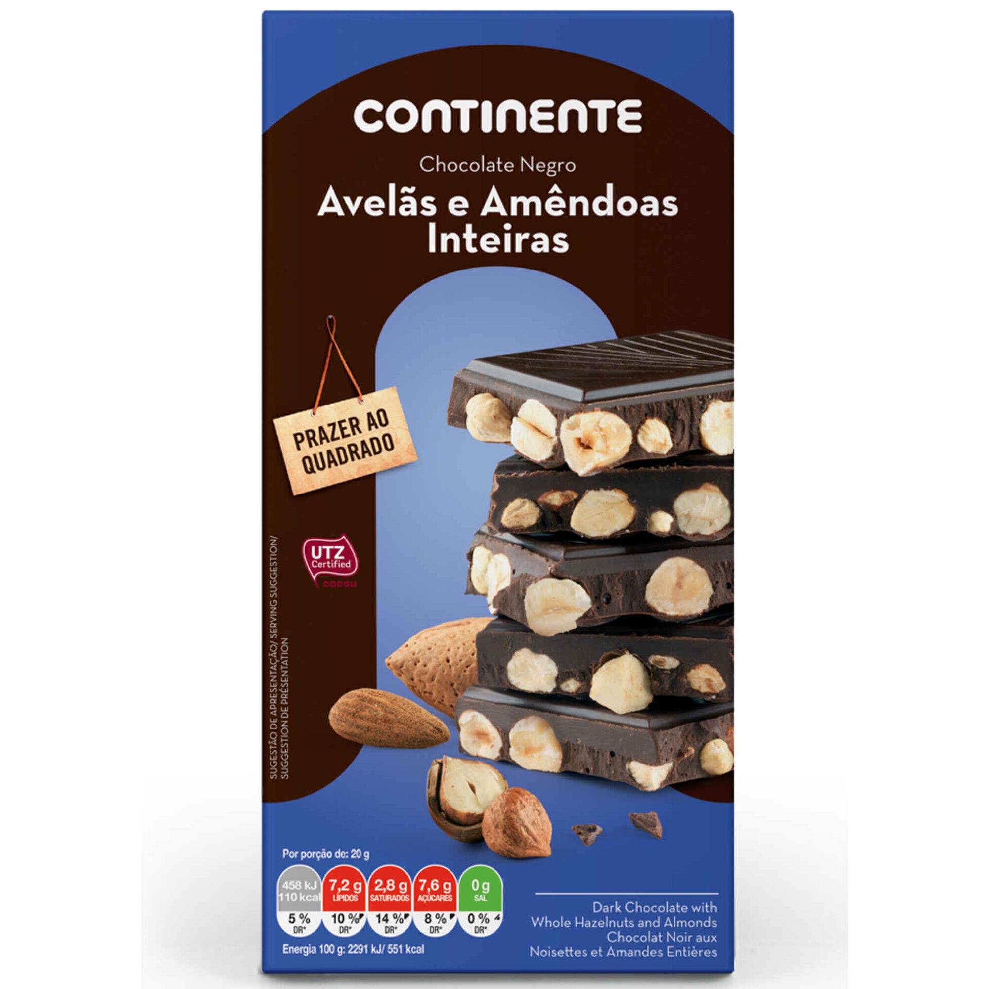 Tablete de Chocolate Negro com Avelãs e Amêndoas