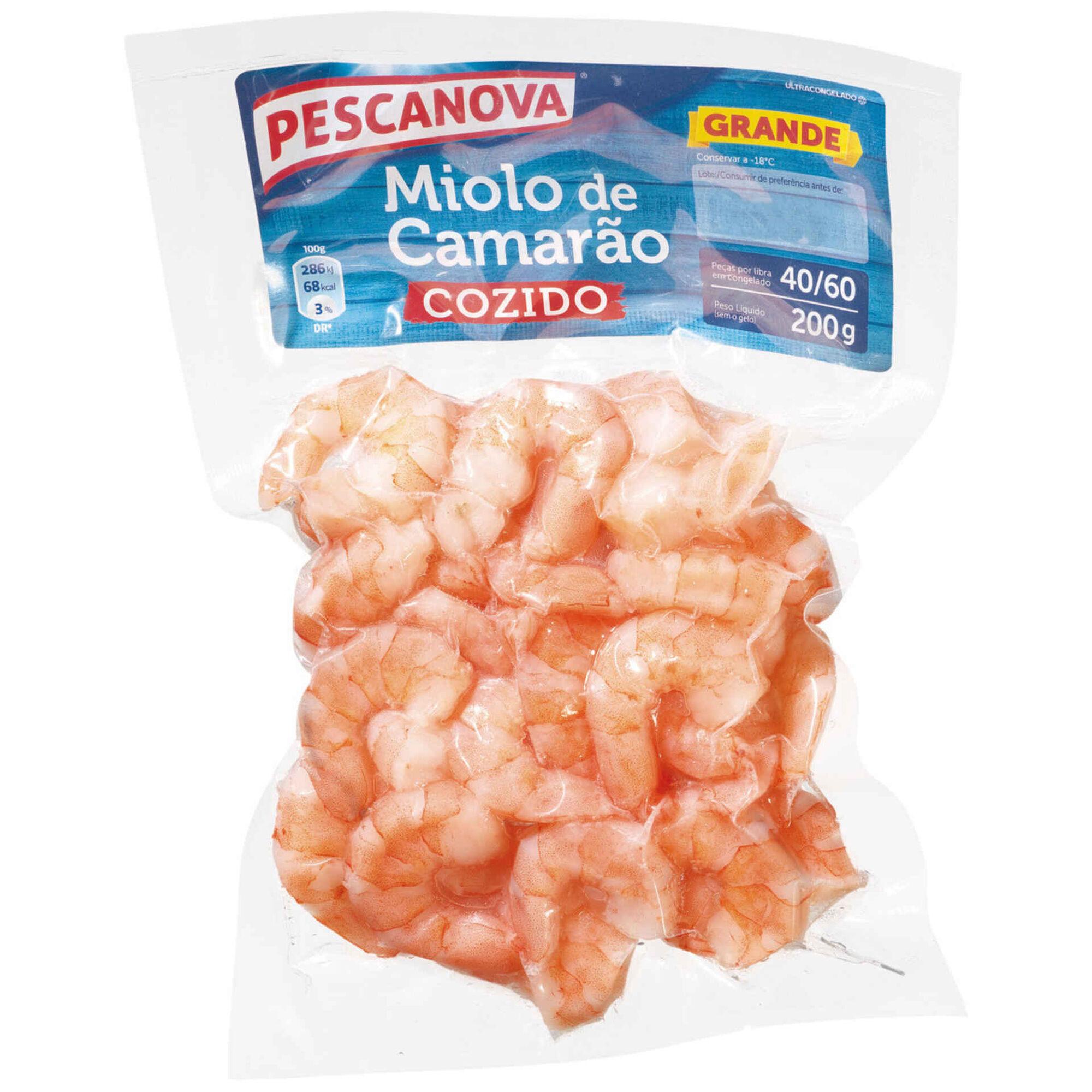 Miolo Camarão Cozido 40/60 Ultracongelado