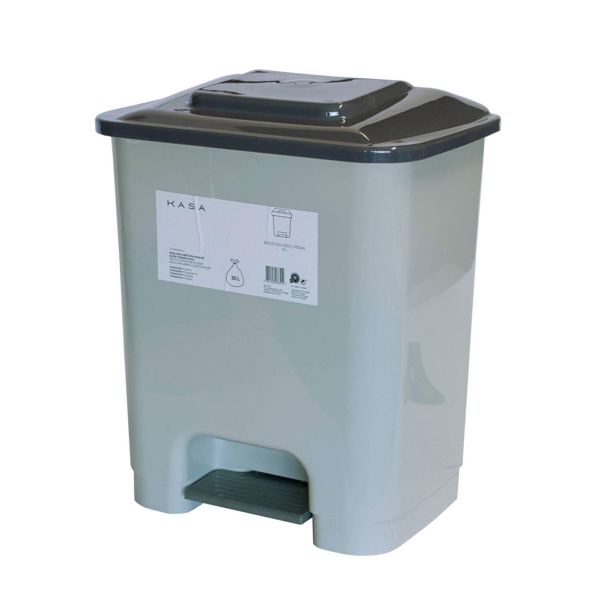 Balde Lixo com Pedal Plástico 35L Cinza
