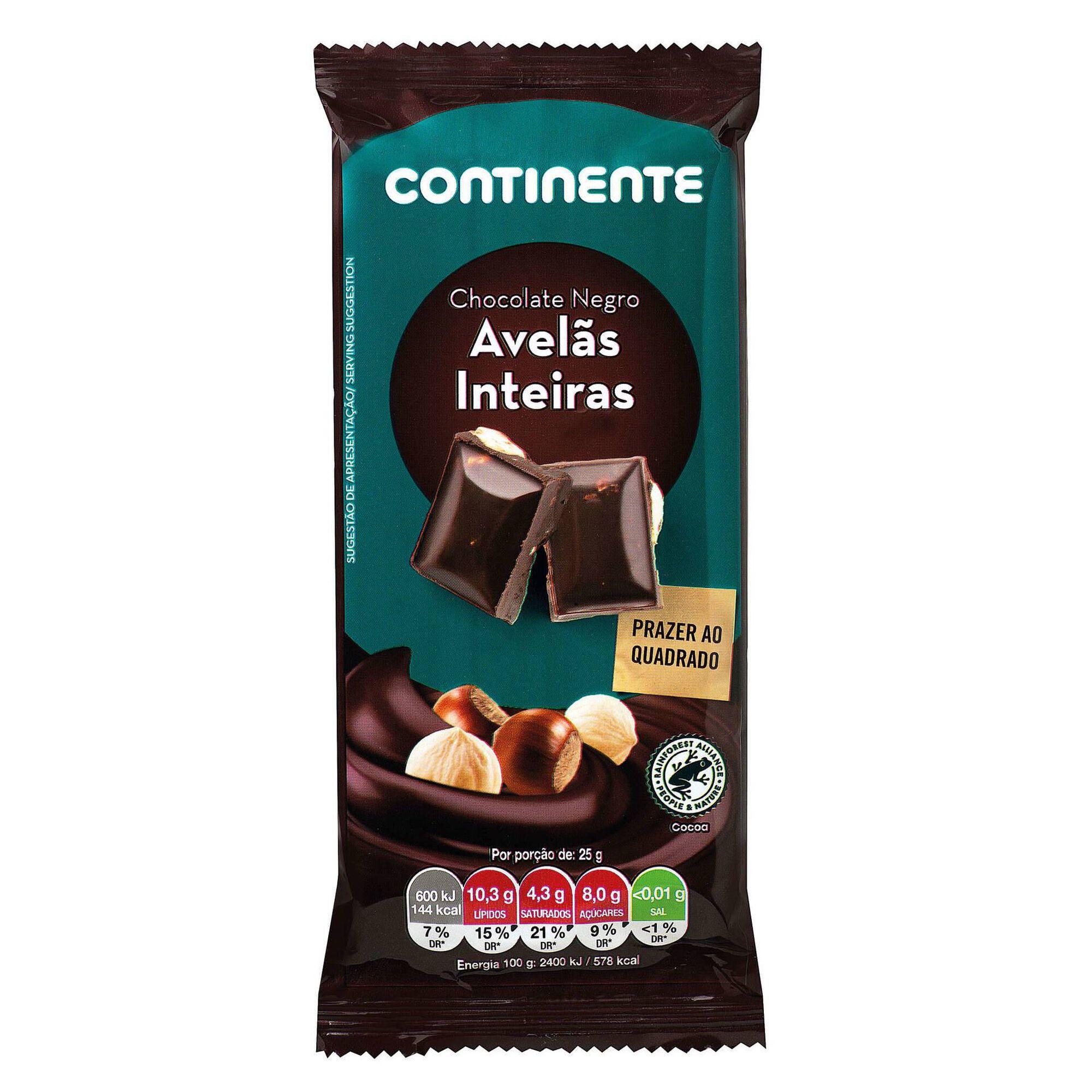 Tablete de Chocolate Negro com Avelã Inteira