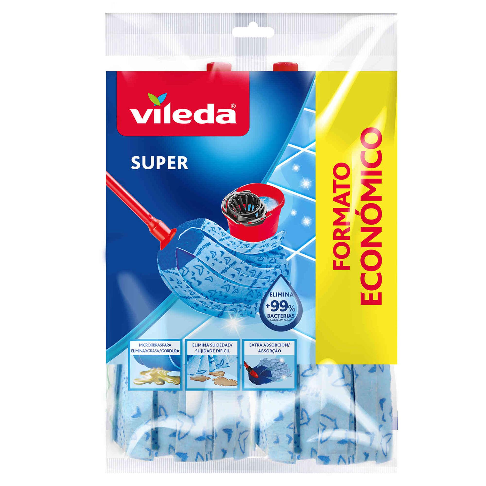 Recargas Esfregona Tiras Microfibra Azuis Super