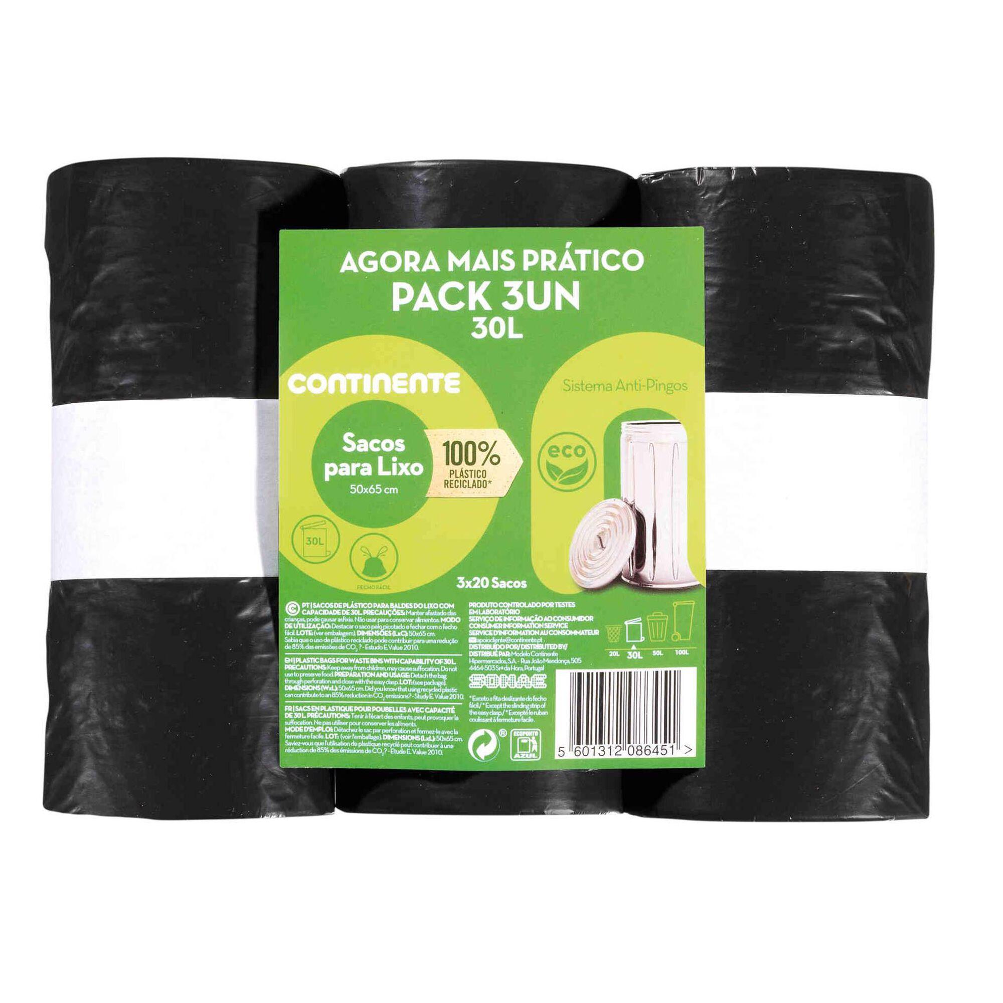 Sacos Lixo 100% Reciclado 30 lt