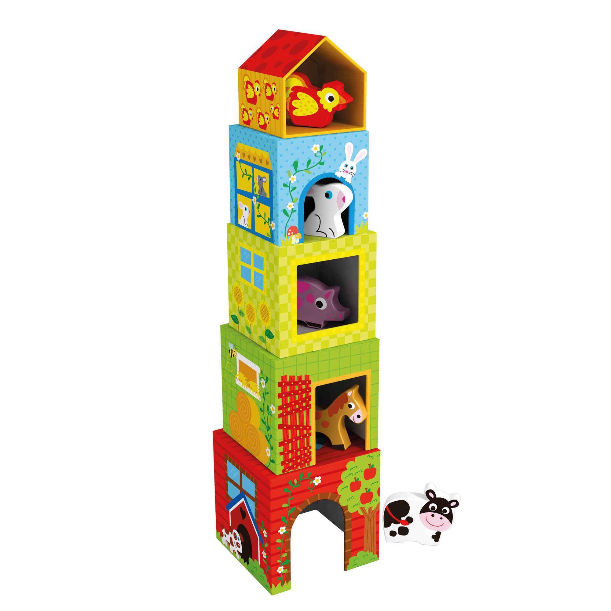 Cubos de Empilhar com Animais, , hi-res