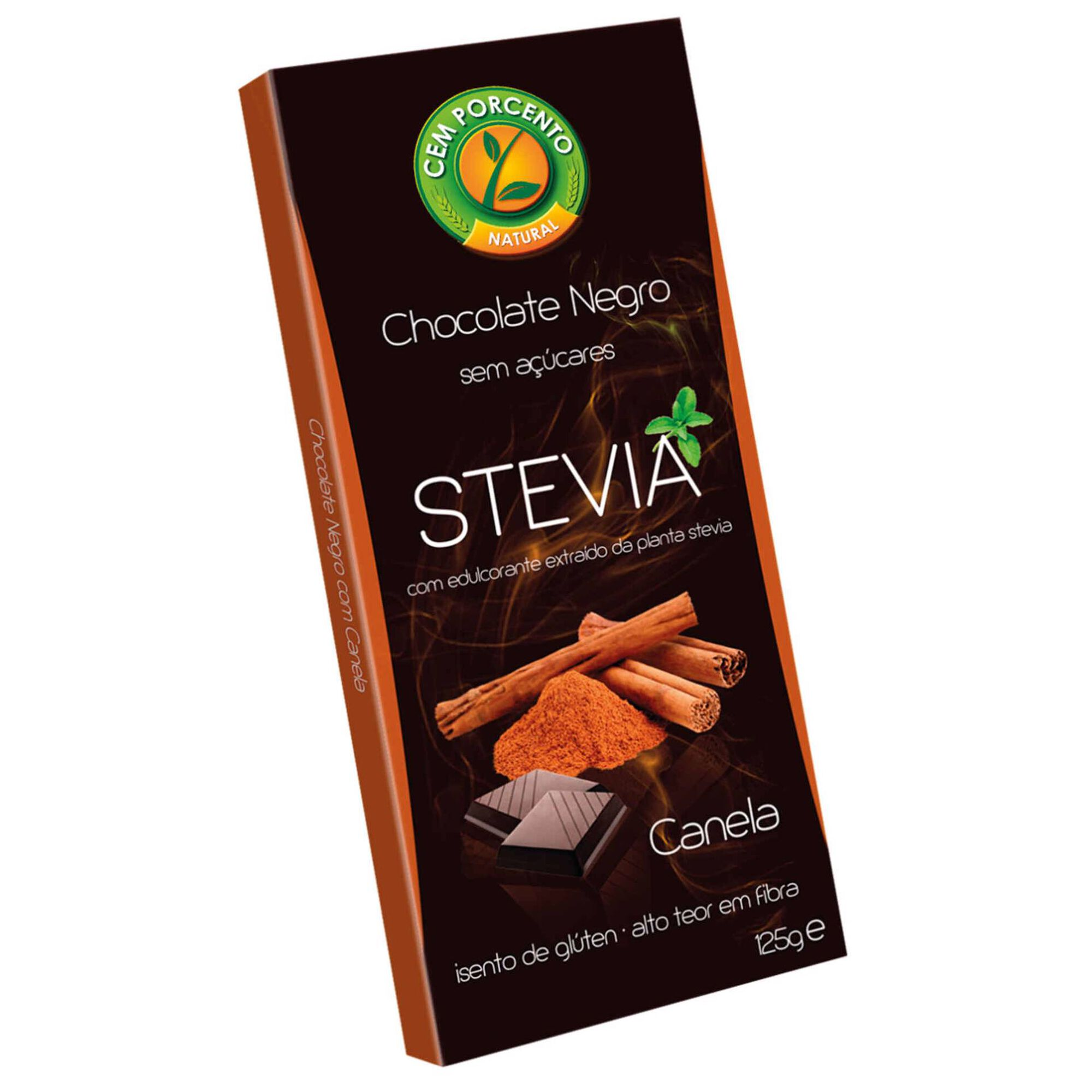 Tablete de Chocolate Negro com Canela sem Açúcar e sem Glúten