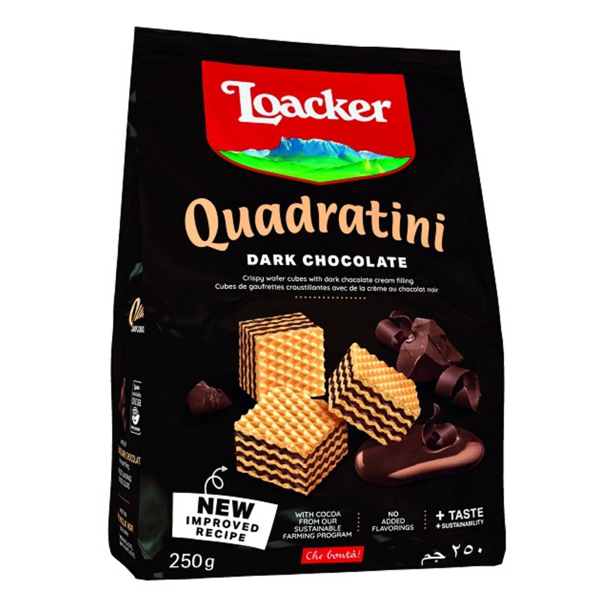 Bolachas Wafers Quadratini com Recheio de Chocolate Negro