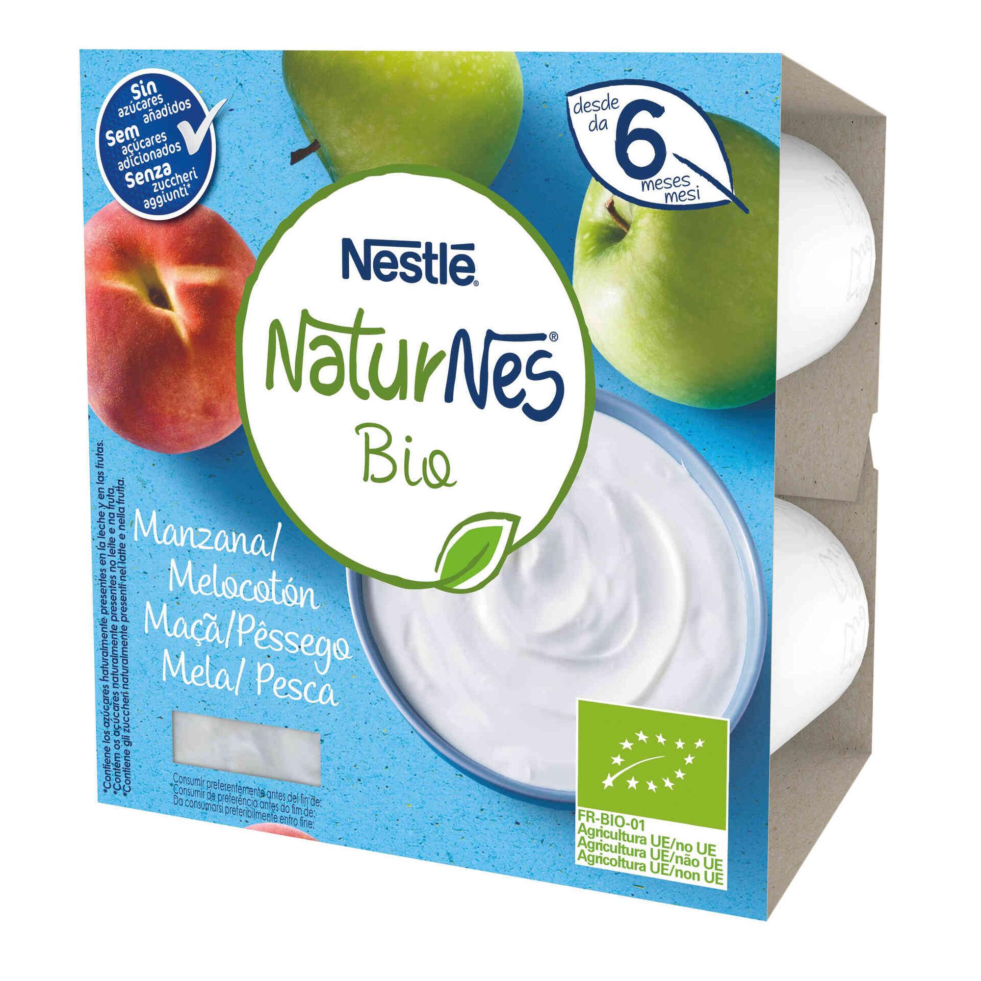 Alimento Lácteo de Maçã e Pêssego Naturnes Bio +6 Meses