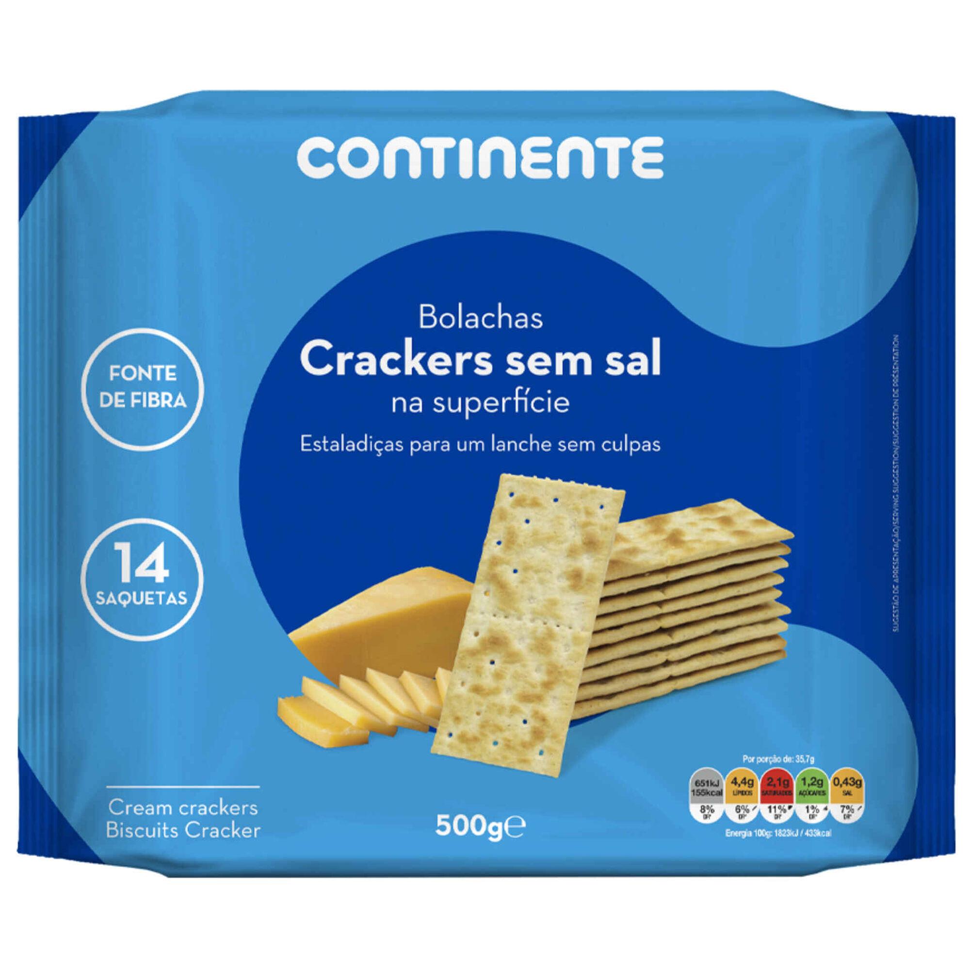 Bolachas Crackers sem Sal na Superfície