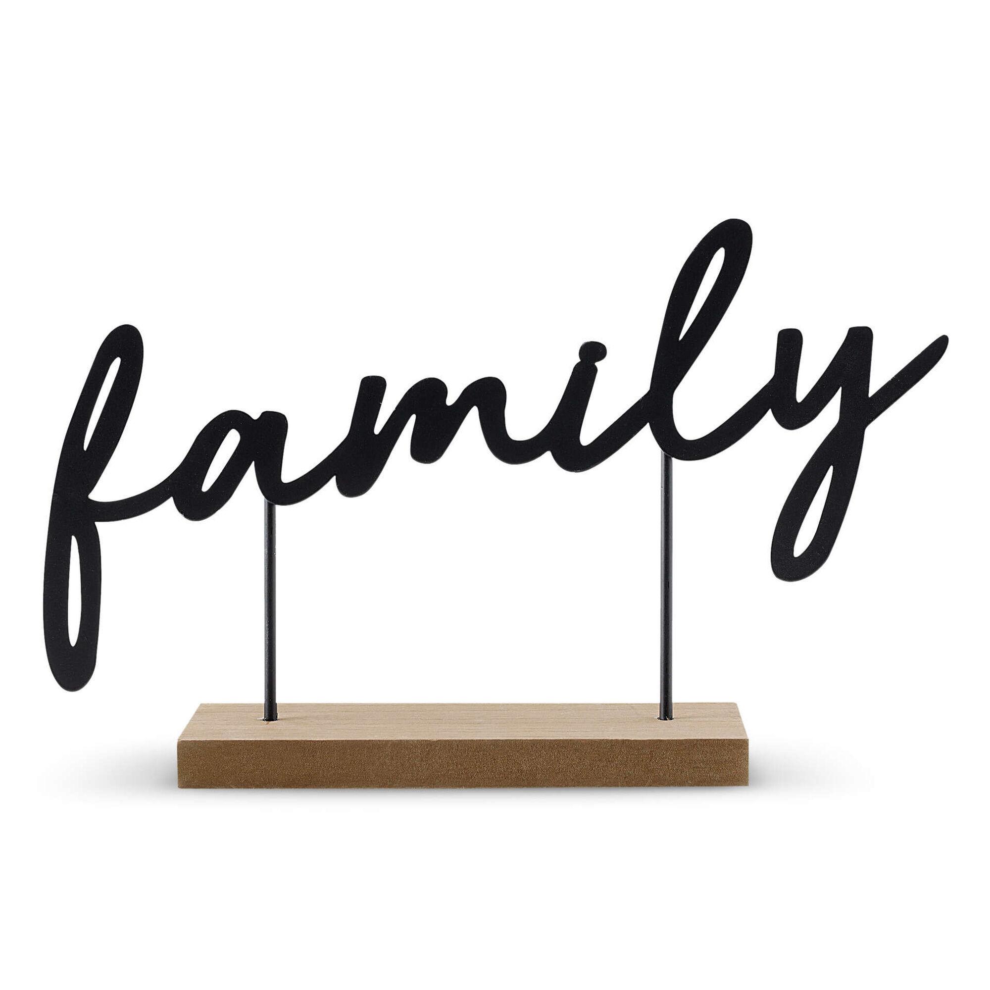 Letras Suspensas Family Madeira e Metal 21x34cm