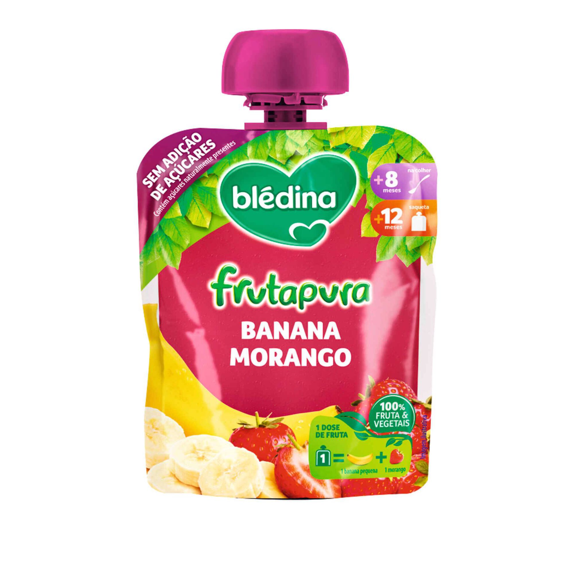 Saqueta de Fruta Banana e Morango Frutapura +8 Meses