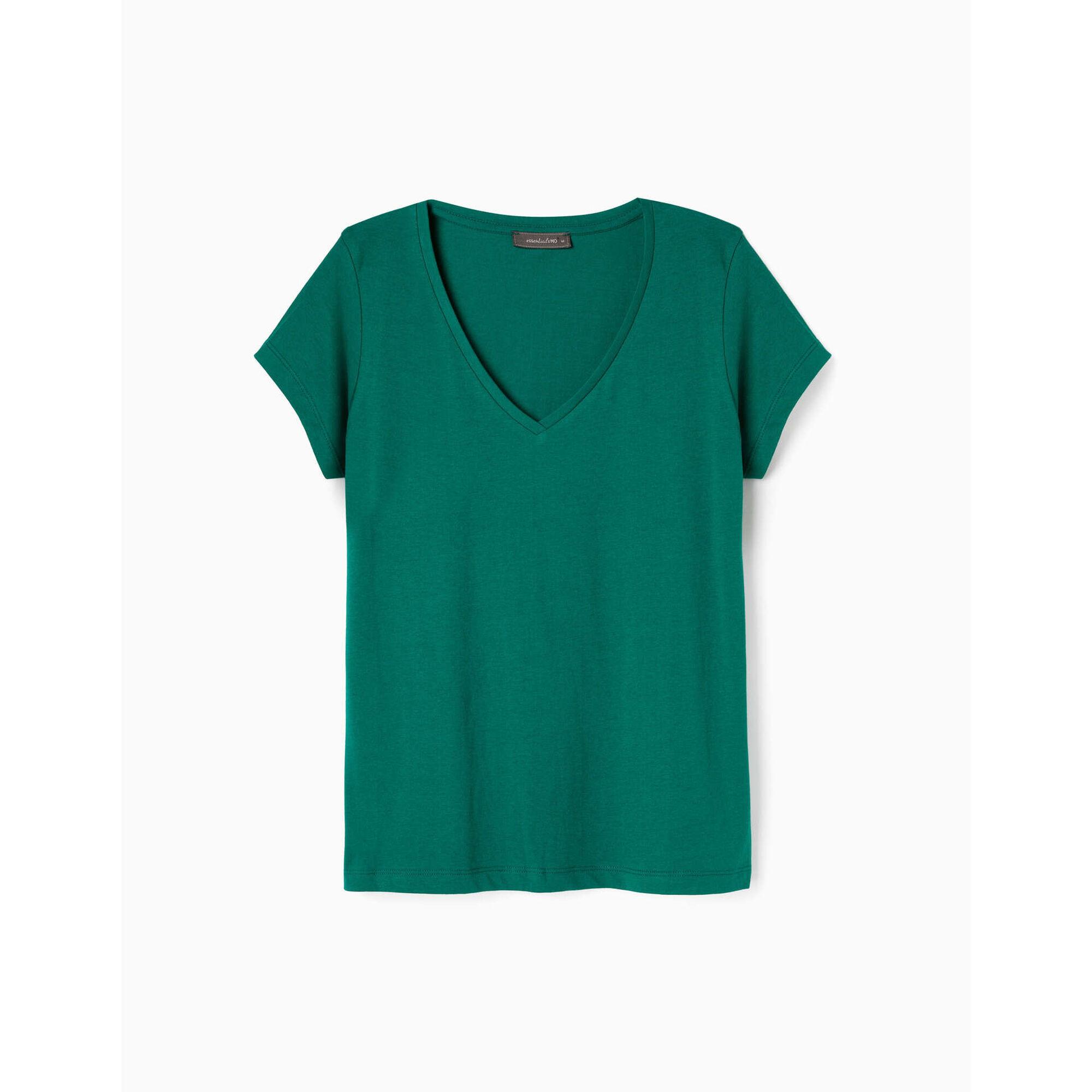 T-shirt Mulher Algodão com Decote em V Verde