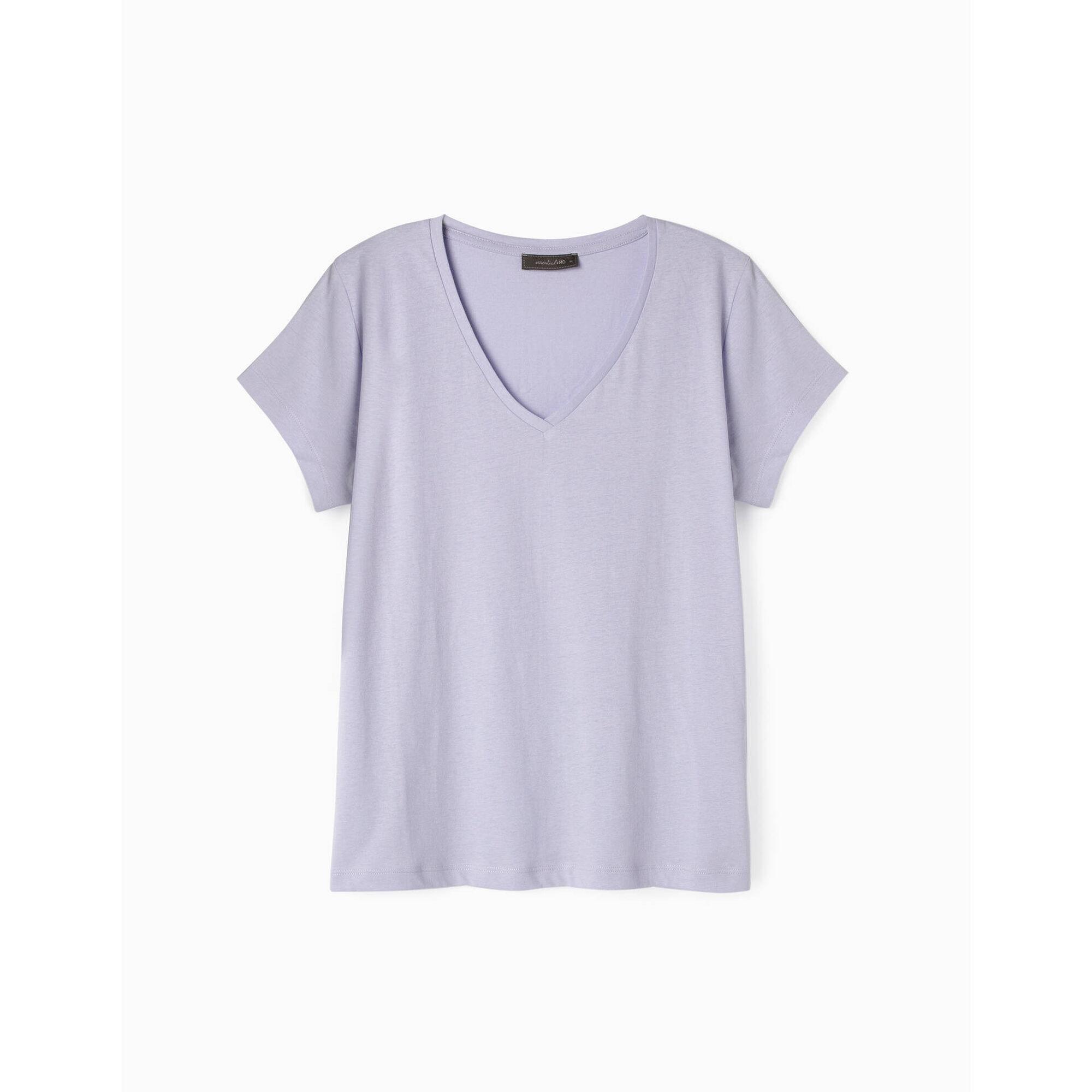 T-shirt Mulher Algodão com Decote em V Lilás