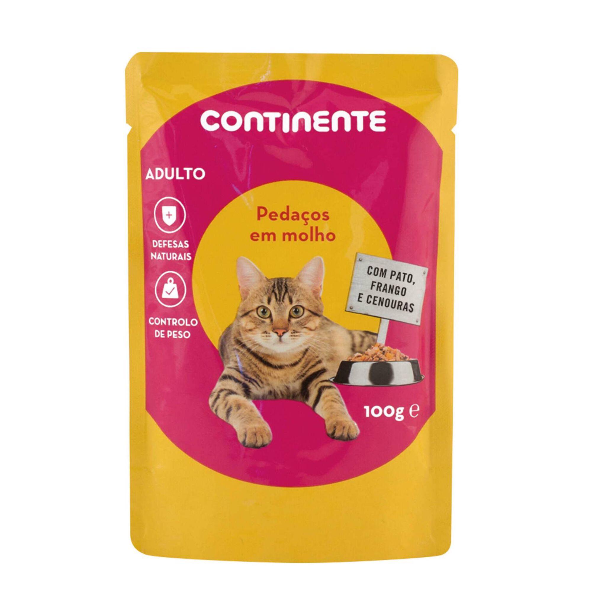 Comida Húmida para Gato Adulto Pedaços em Molho Pato, Frango e Cenouras Saquetas