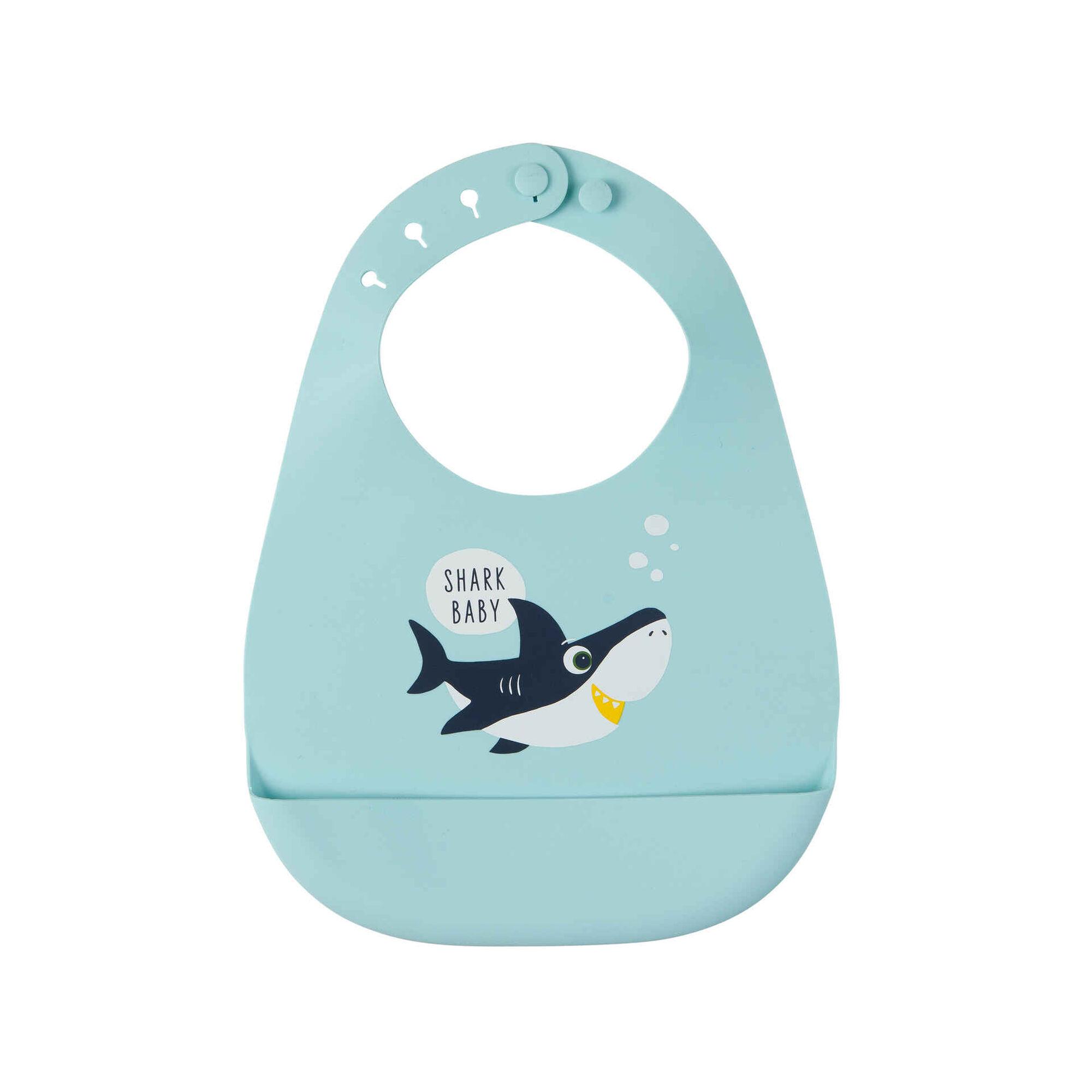 Babete Silicone Tubarão Azul