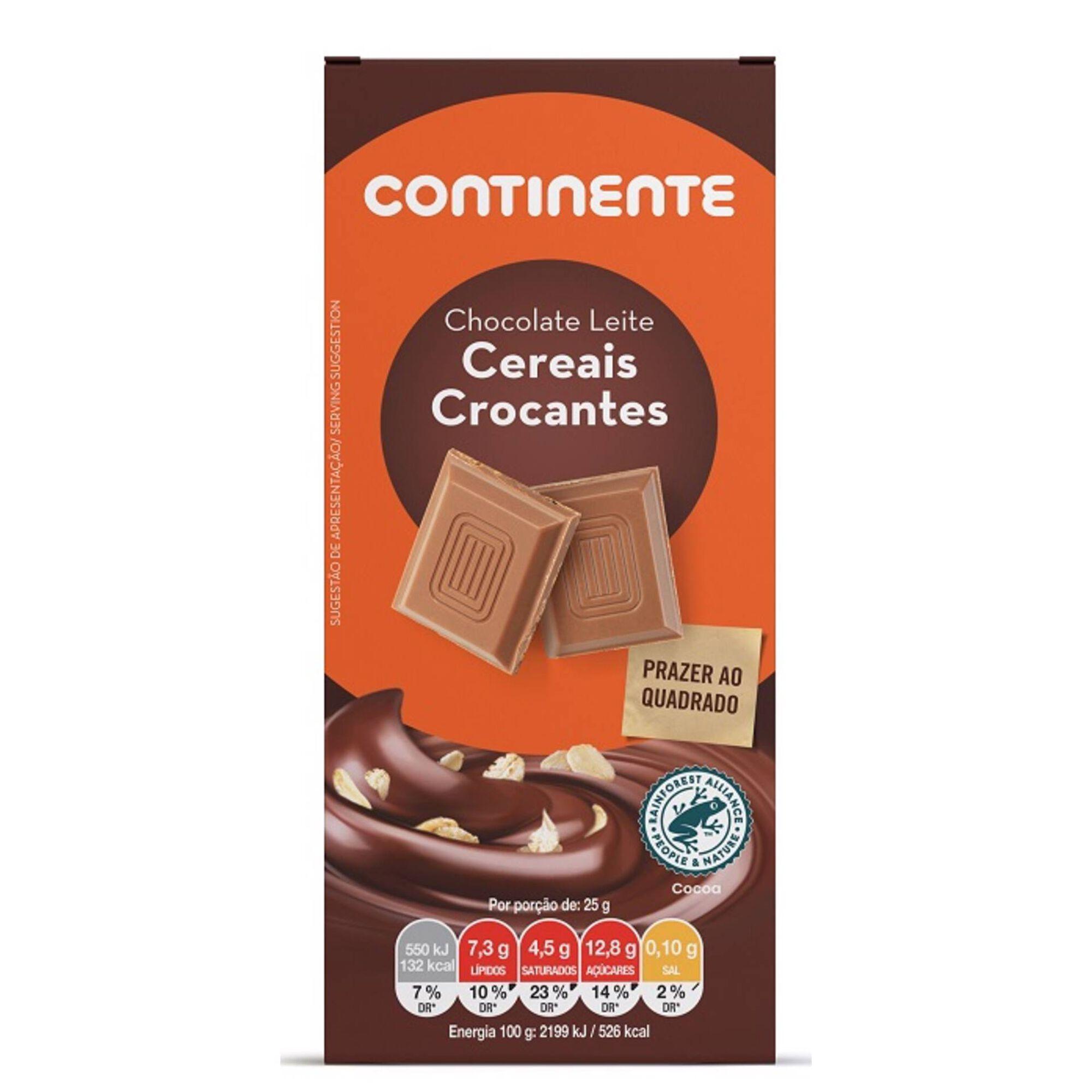Tablete de Chocolate Cereais Crocantes