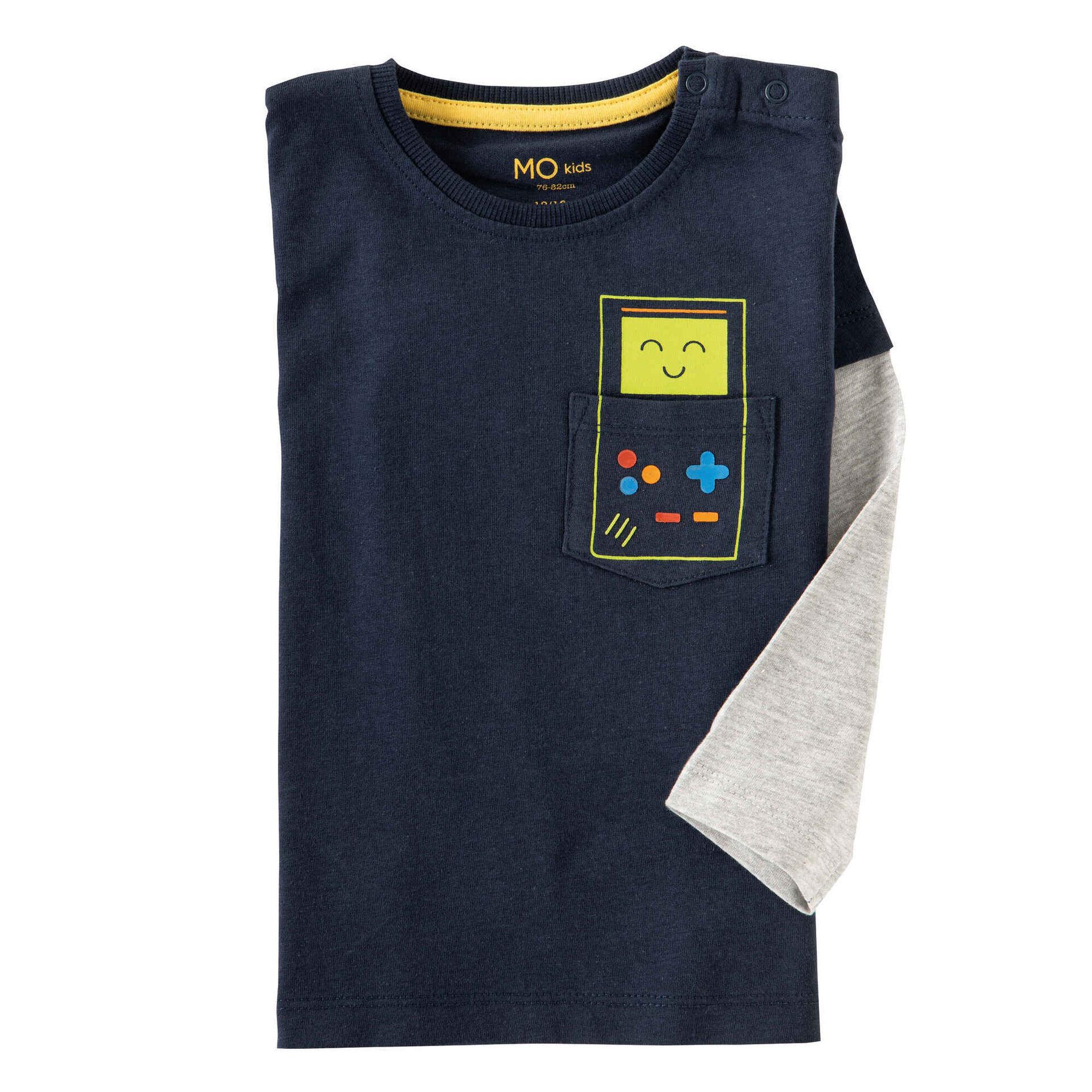 T-shirt Manga Comprida Algodão Azul e Cinza