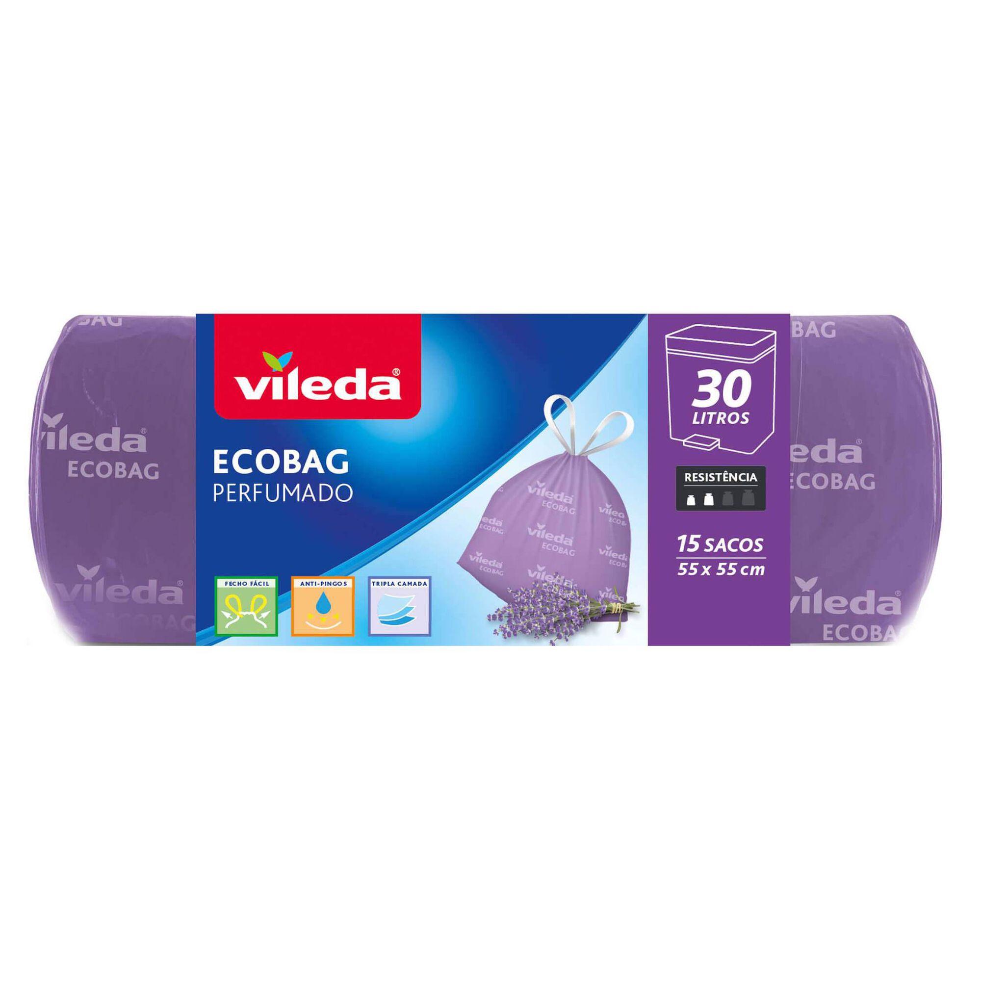 Sacos Lixo Ecobag Fecho Fácil Perfumado Lavanda 30 lt