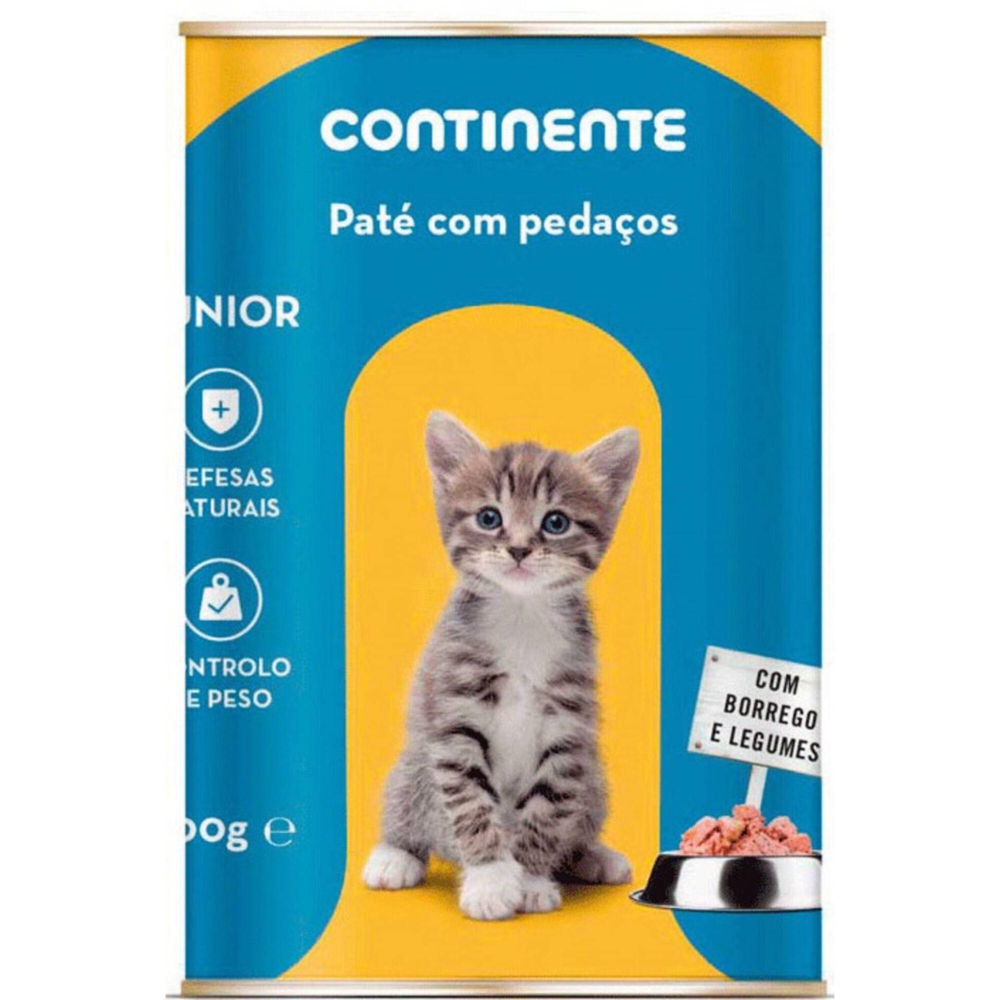 Comida Húmida para Gato Júnior Patê com Pedaços Borrego e Legumes Lata