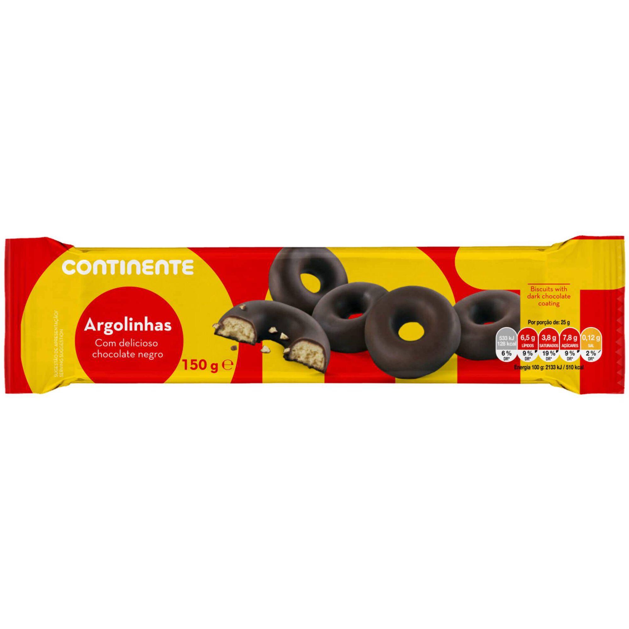 Bolachas Argolinhas com Cobertura Chocolate Negro