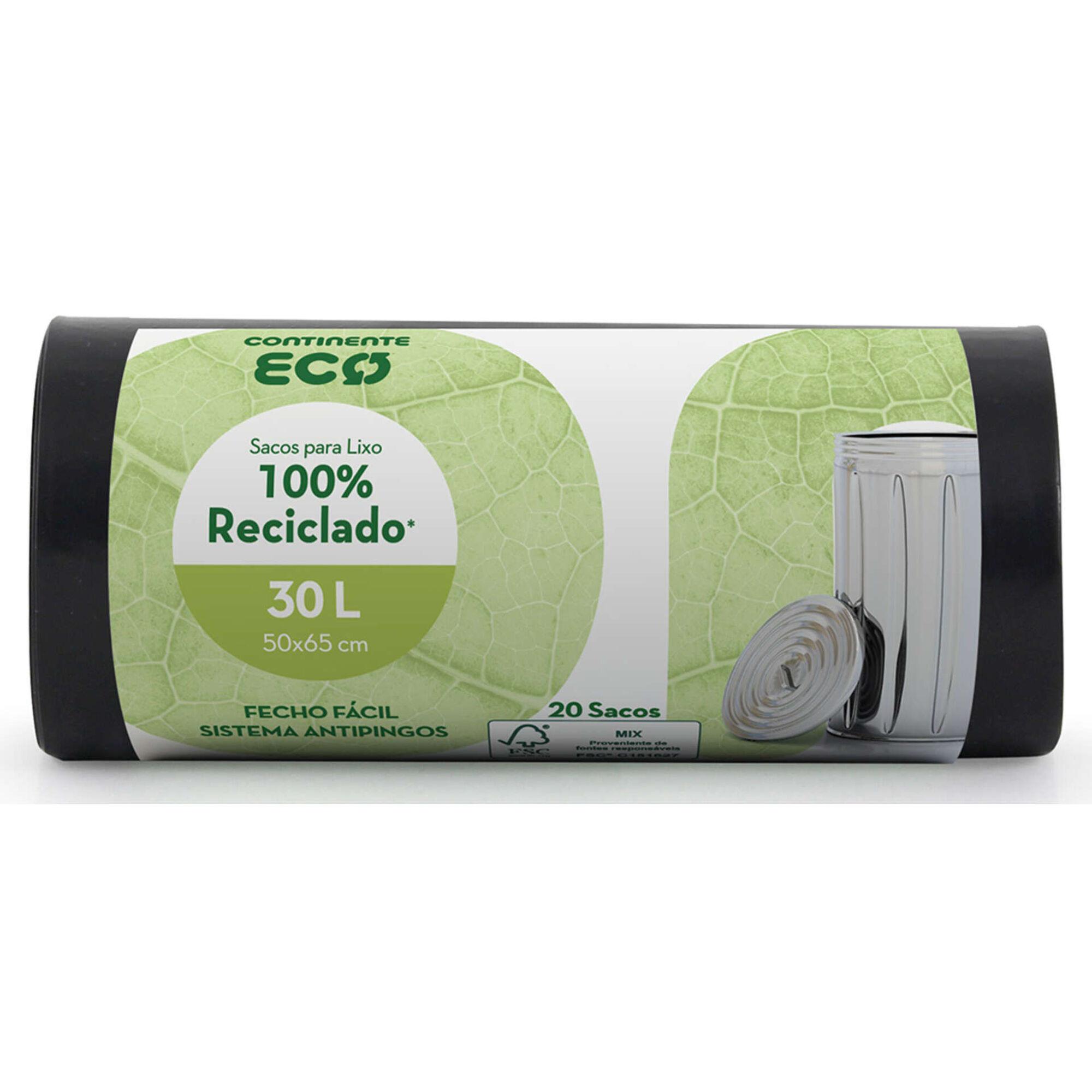 Sacos Lixo 100% Reciclado Fecho Fácil 30 lt