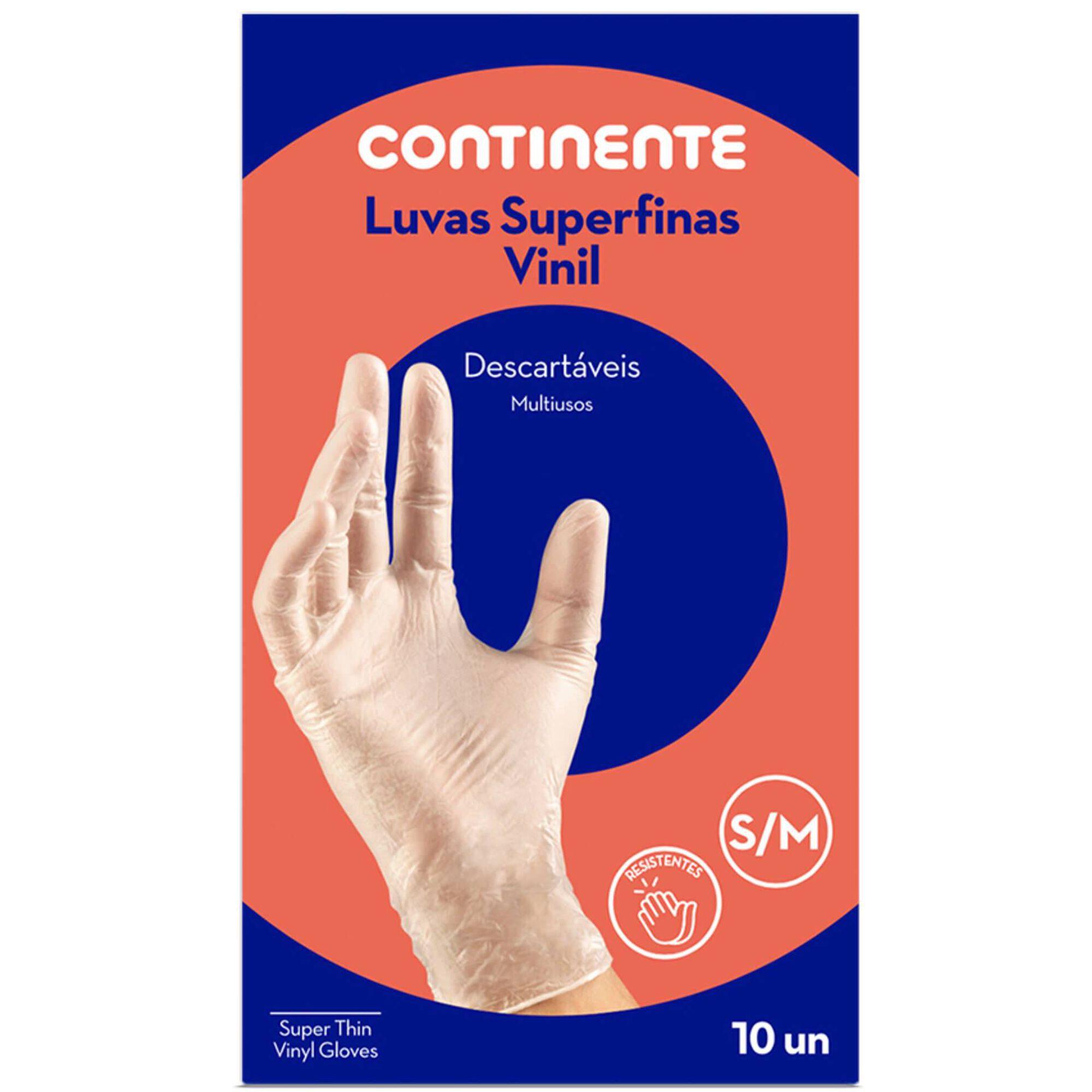 Luvas Descartáveis Superfinas Vinil Tam. S/M