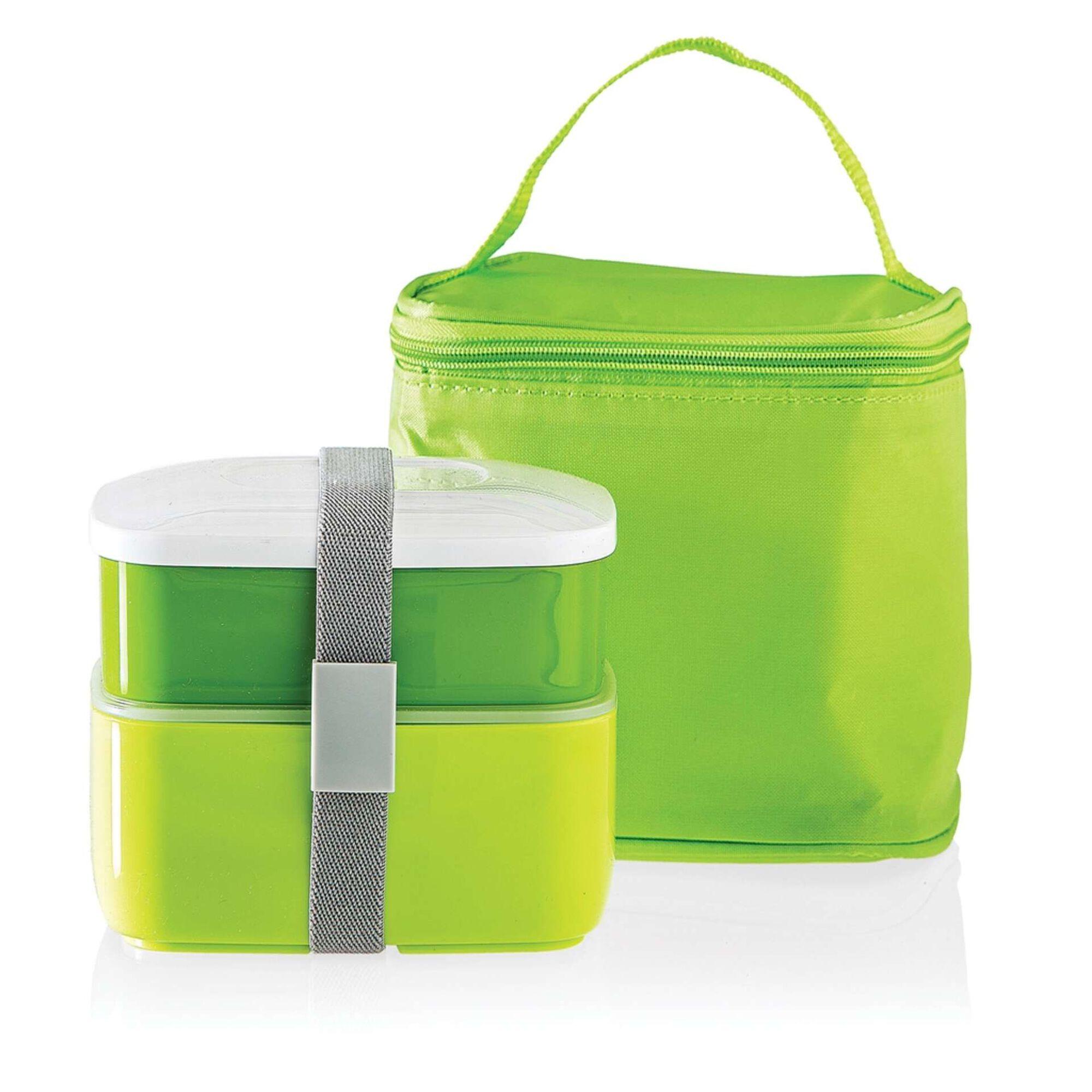 Conjunto Saco Térmico Alças com 2 Caixas Verde 4 My Lunch