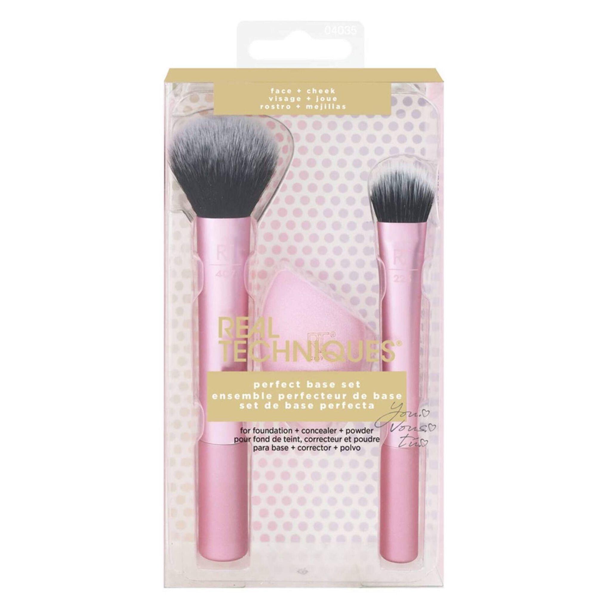 Conjunto de Maquilhagem Base Perfeita, 2 Pincéis e Esponja