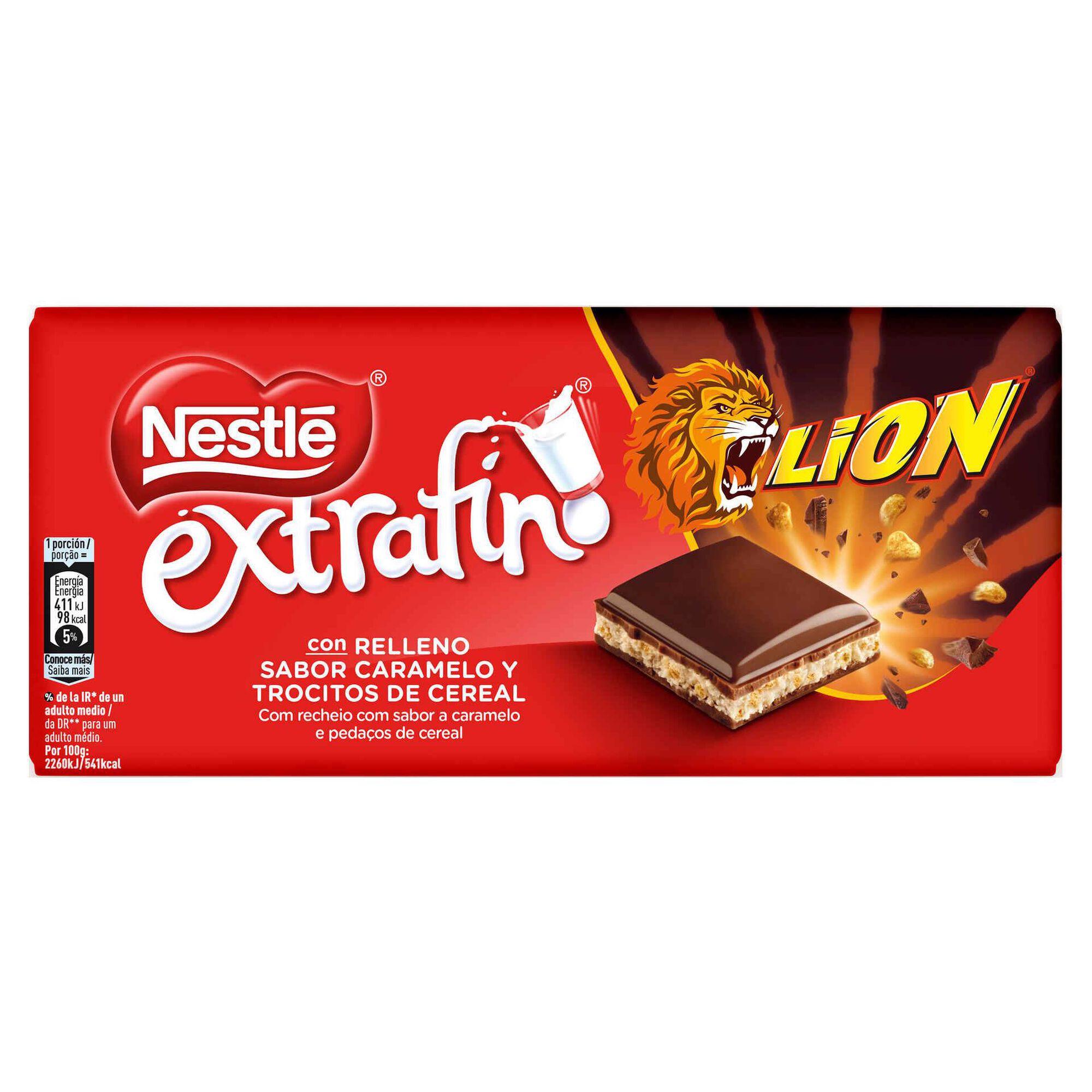 Tablete de Chocolate com Caramelo e Cereais Lion Extrafino