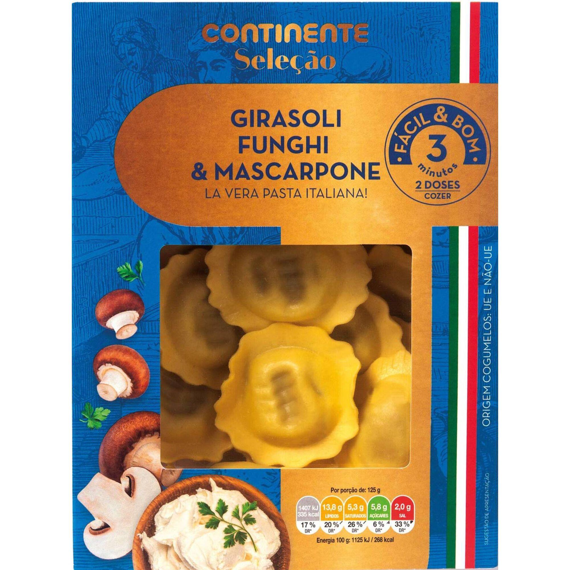 Girasoli Fresco com Cogumelos e Queijo Mascarpone