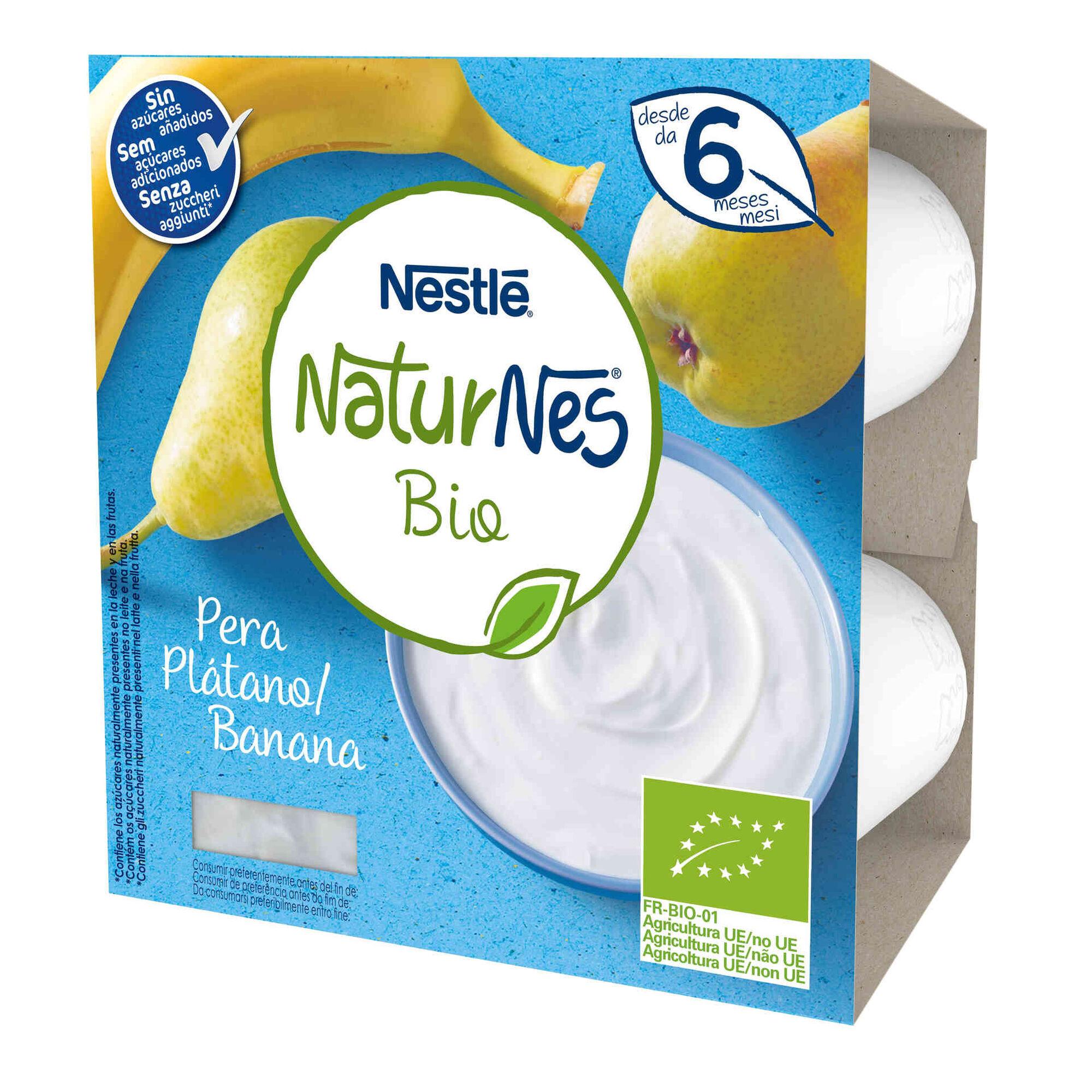 Alimento Lácteo de Banana e Pera sem Açúcar Naturnes Bio +6 Meses
