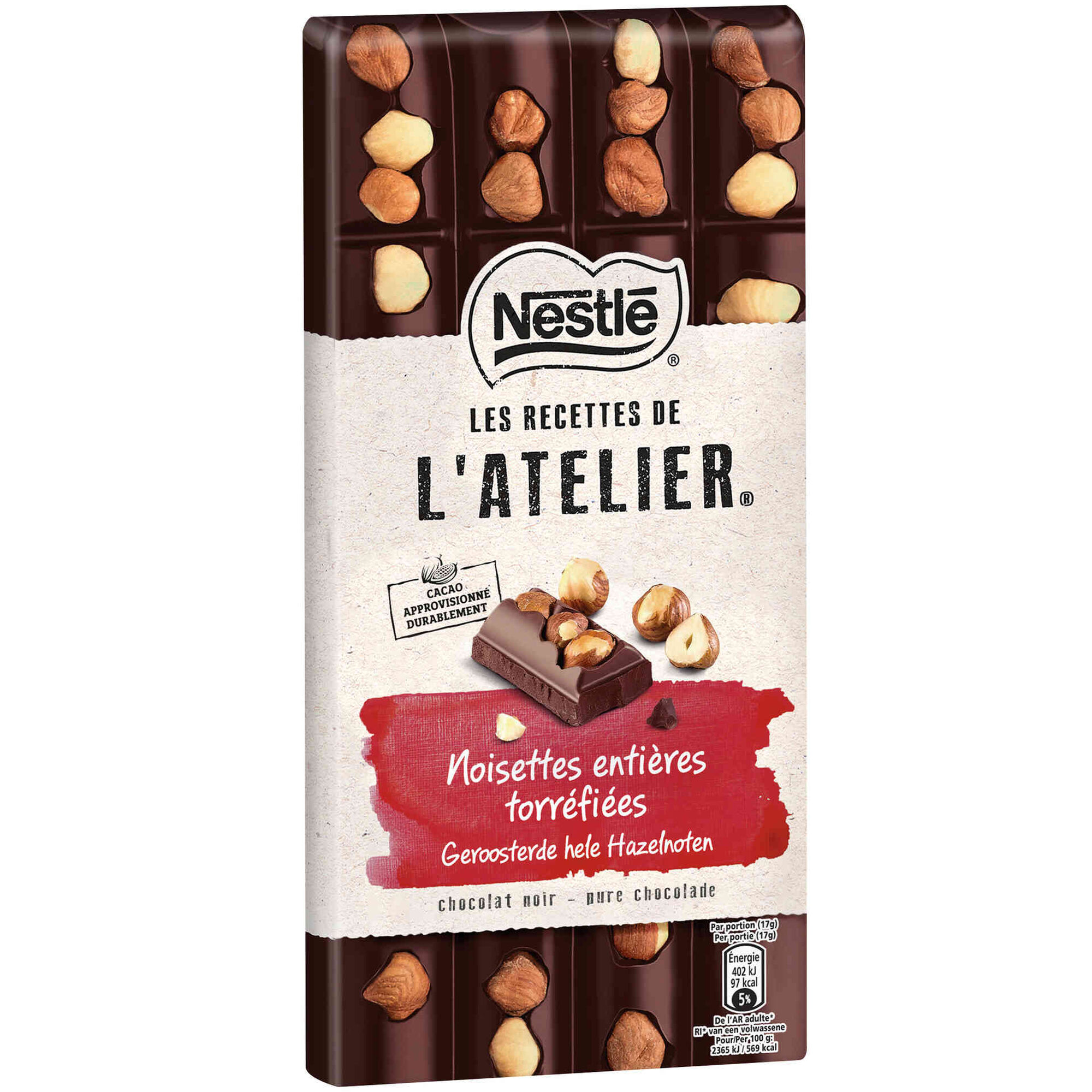 Tablete de Chocolate Negro com Avelã Les Recettes de L'Atelier
