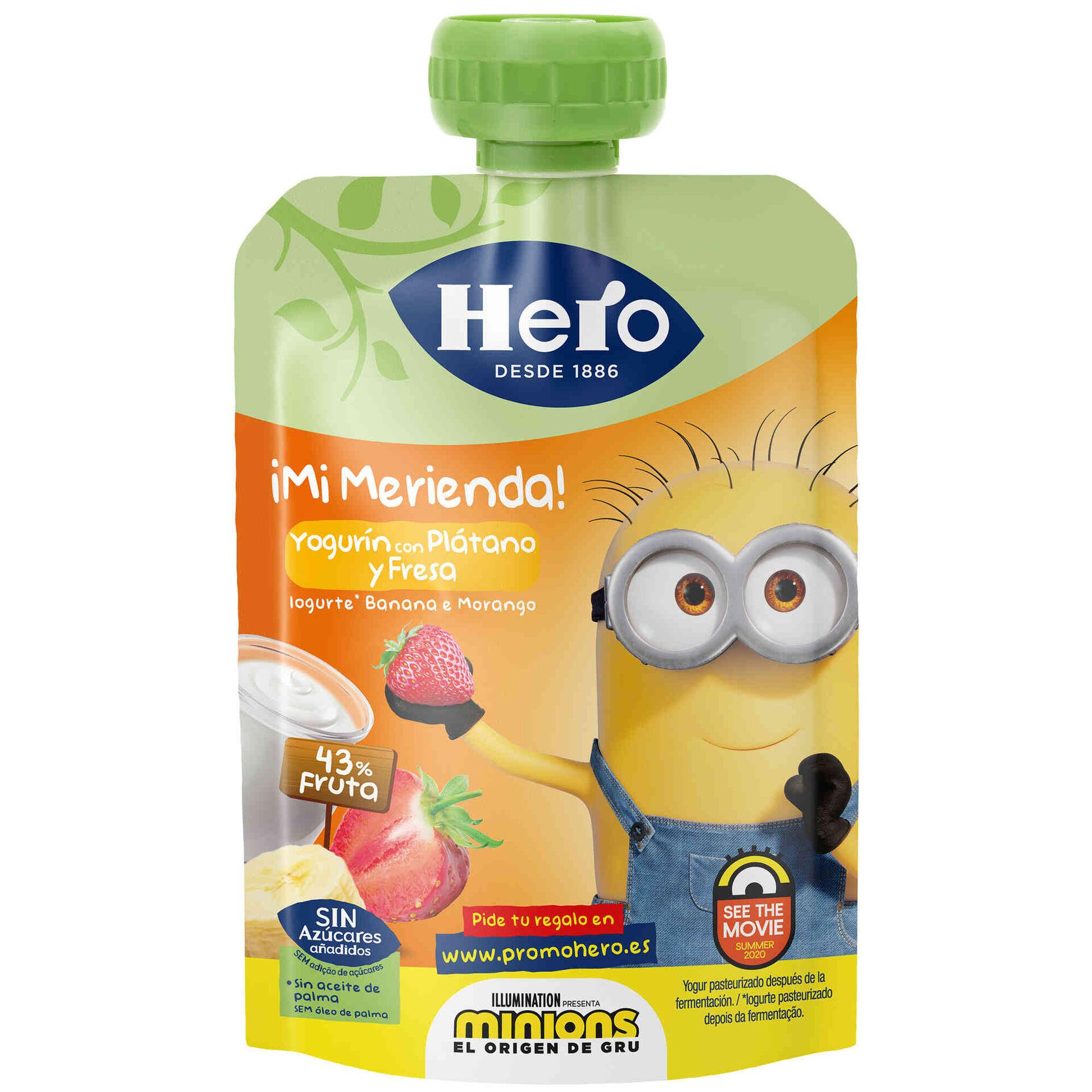 Saqueta de Fruta Iogurte, Banana e Morango Minions