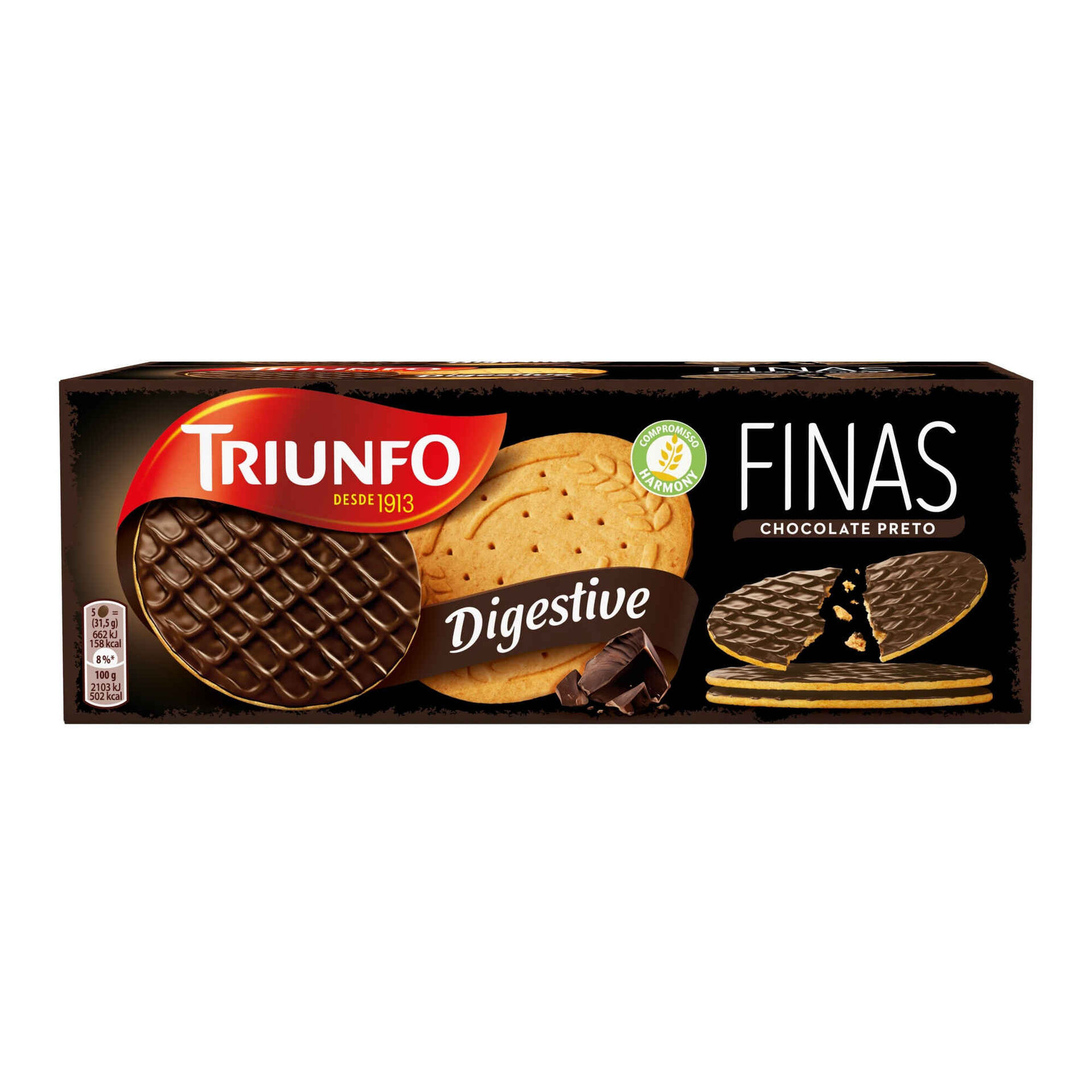 Bolachas Digestivas Finas com Chocolate Preto